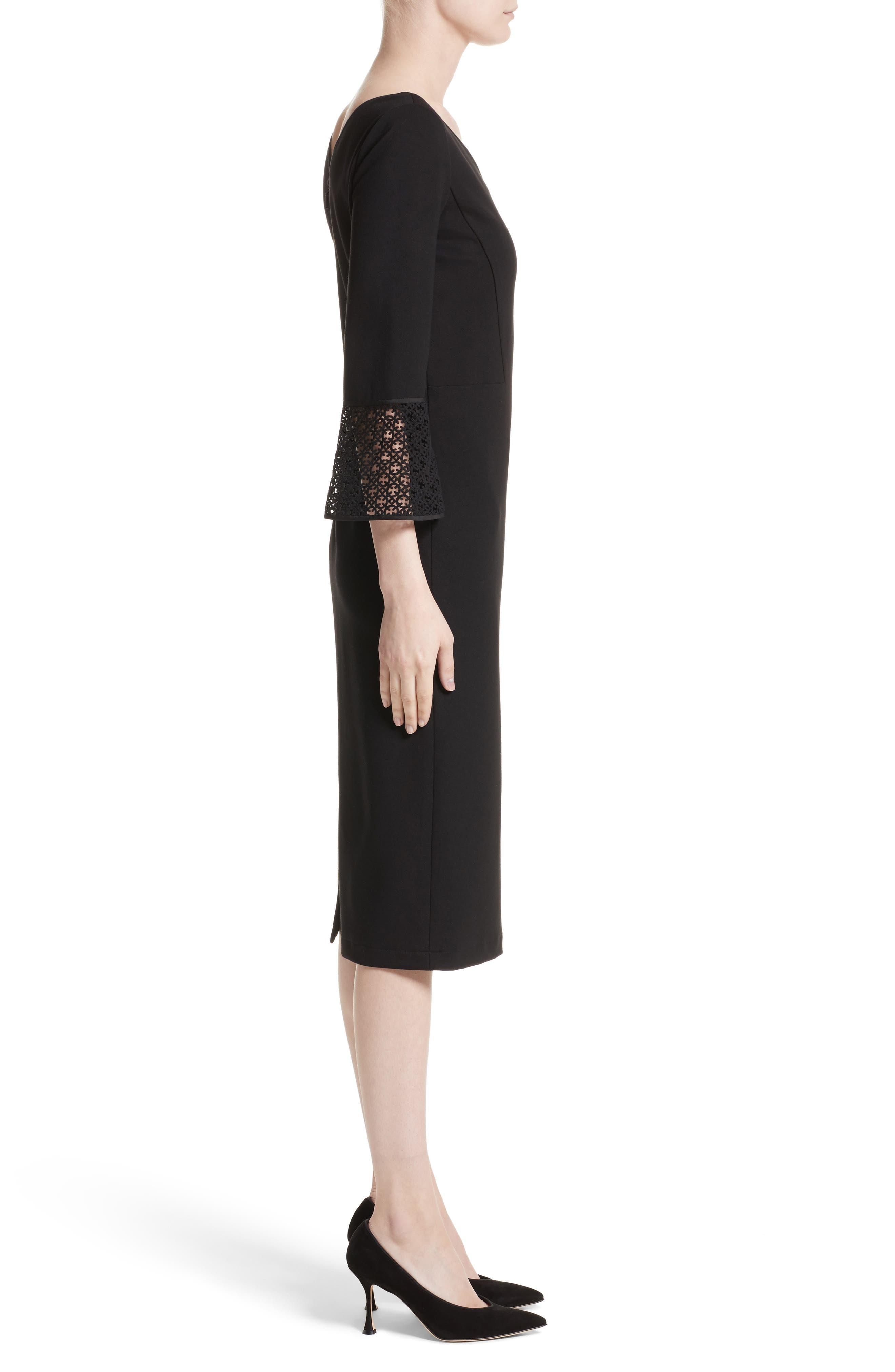 Lace Trim Sheath Dress,                             Alternate thumbnail 3, color,                             Black