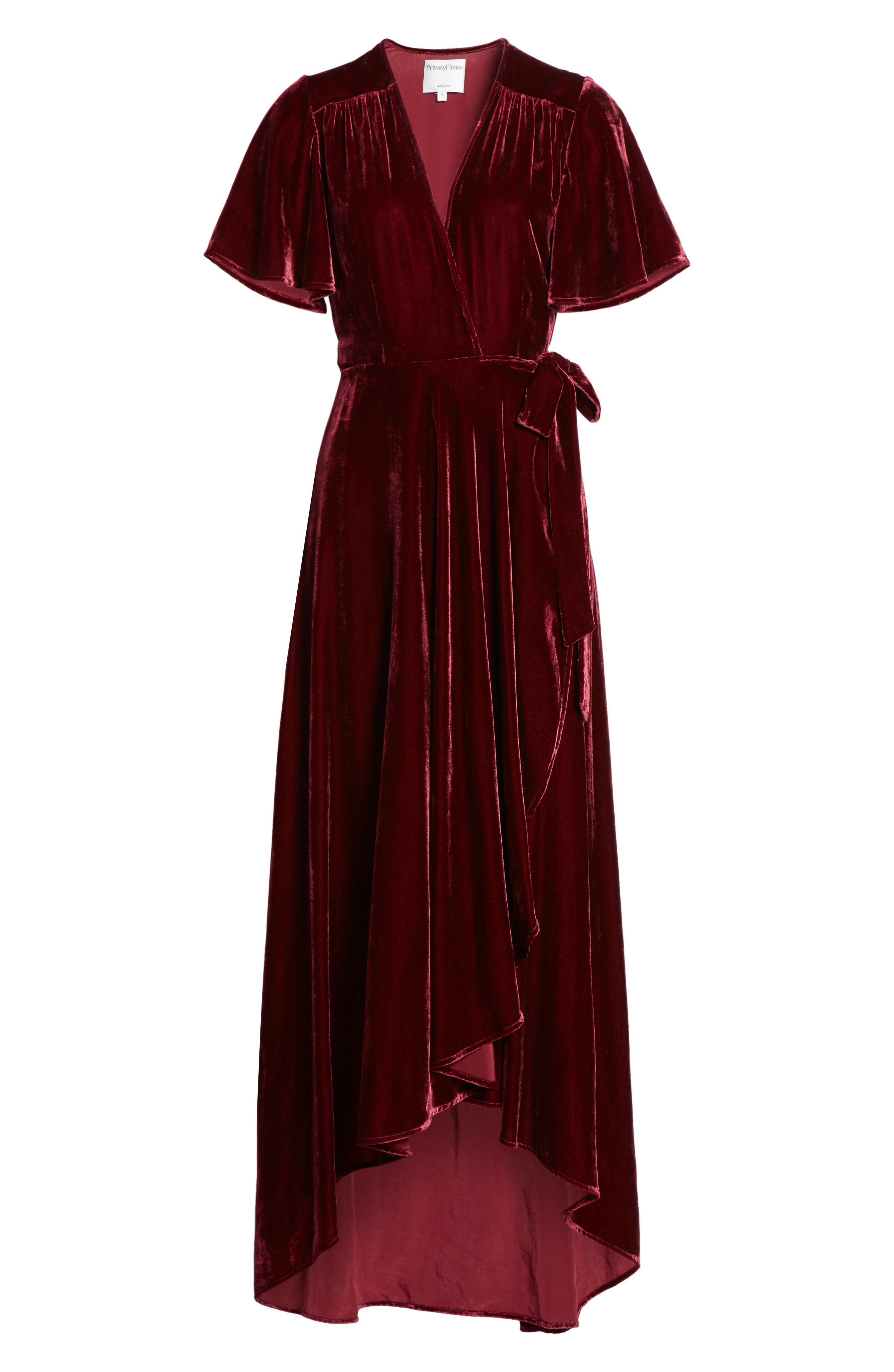 Velvet Wrap Maxi Dress,                             Alternate thumbnail 2, color,                             Burgundy