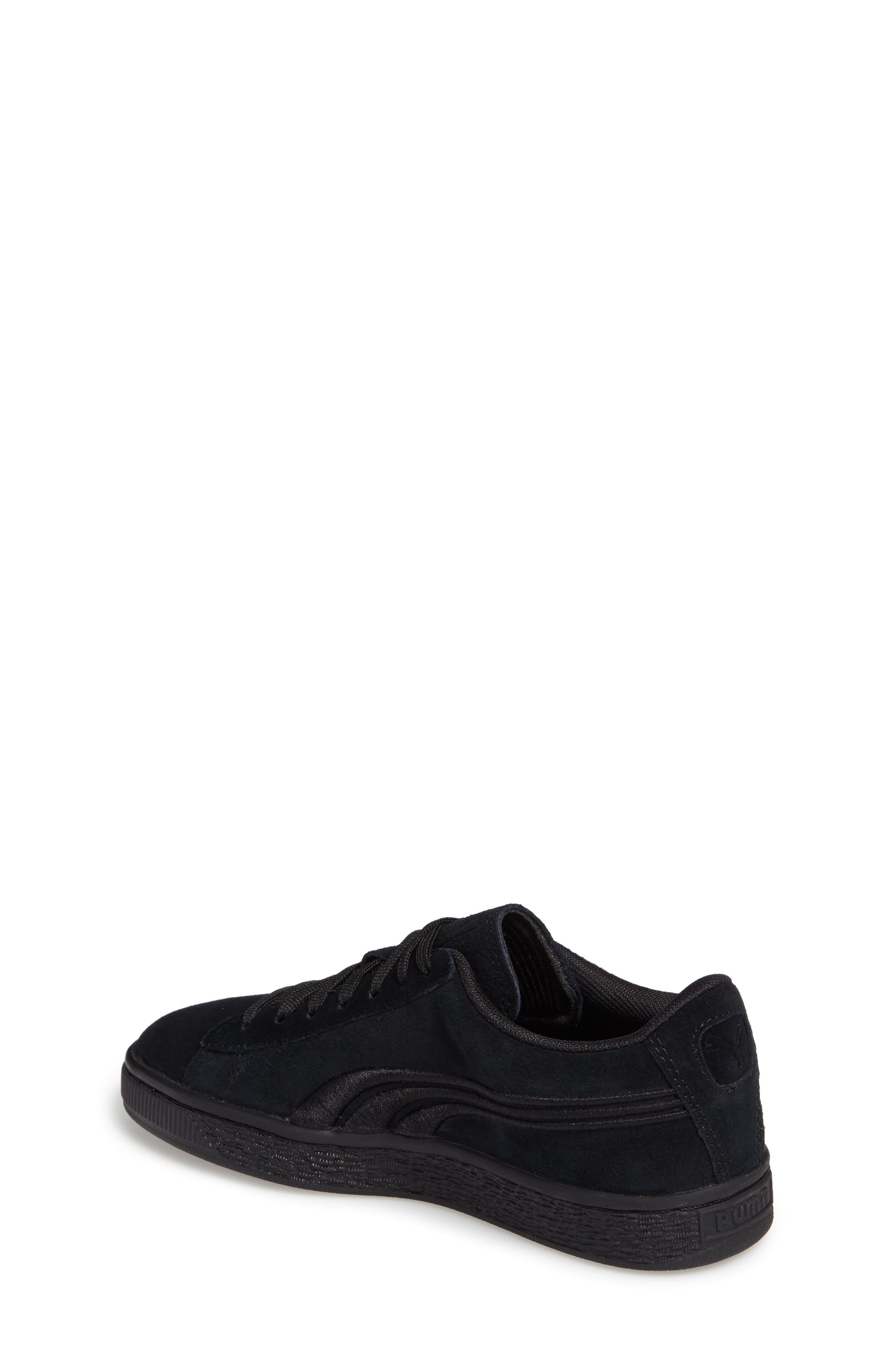 Suede Classic Badge Jr. Sneaker,                             Alternate thumbnail 2, color,                             Black/ Black