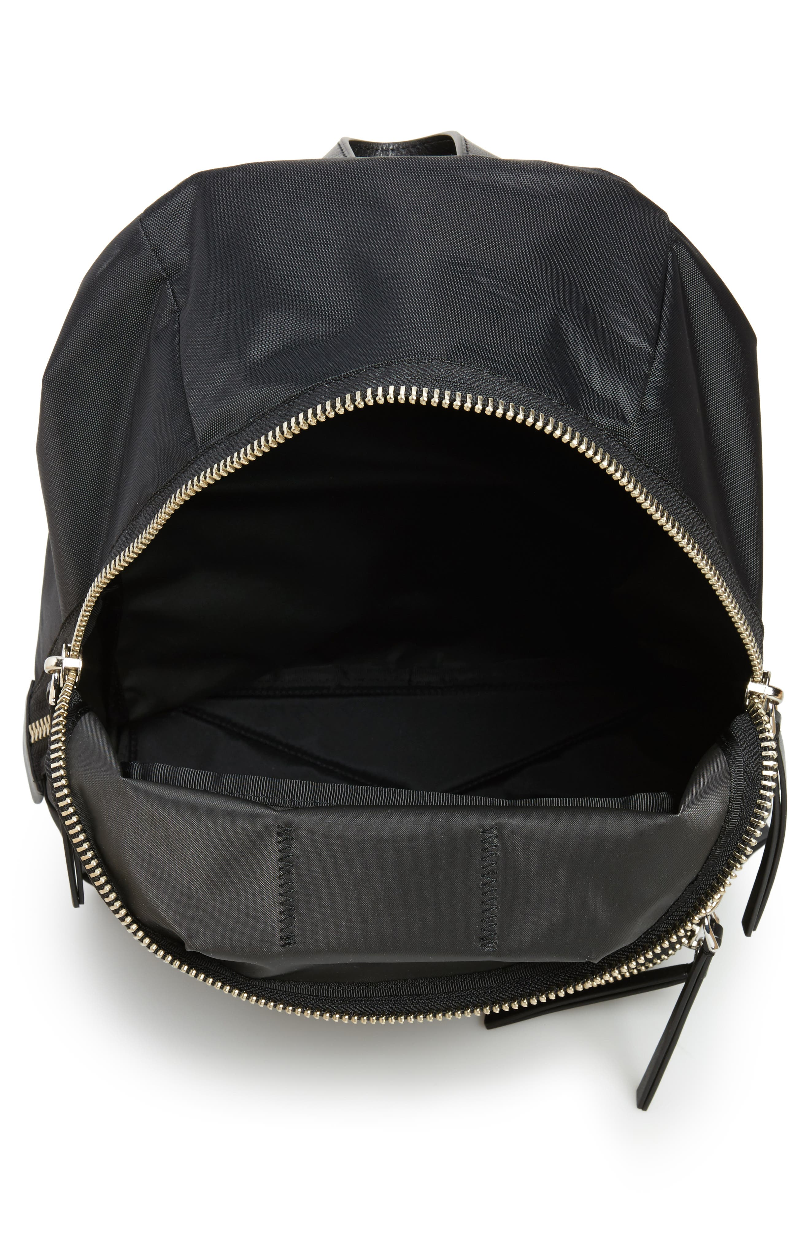 Biker Nylon Backpack,                             Alternate thumbnail 4, color,                             Black