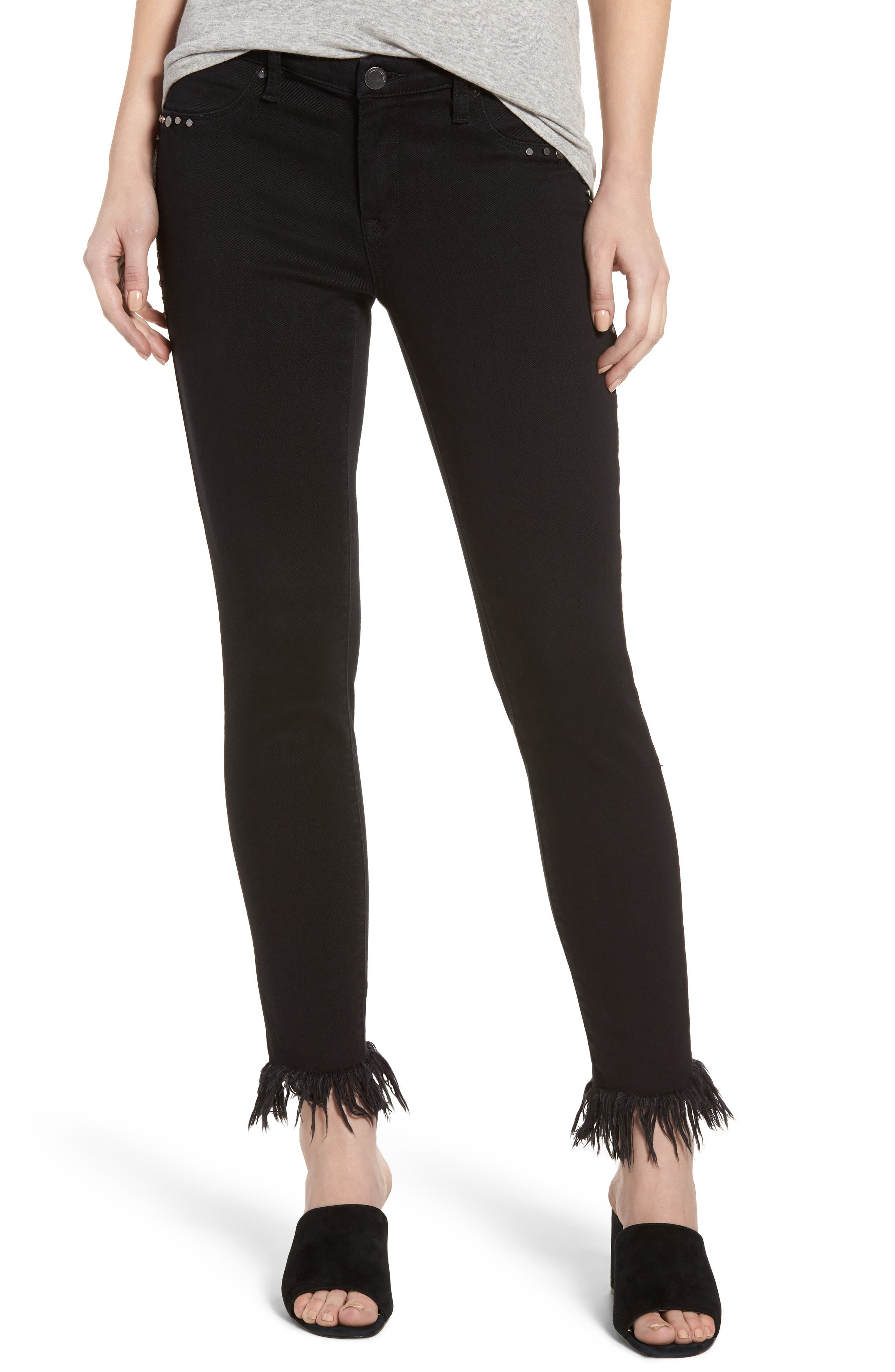 Embroidered & Studded Skinny Jeans,                             Main thumbnail 1, color,                             Hidden Talent Black