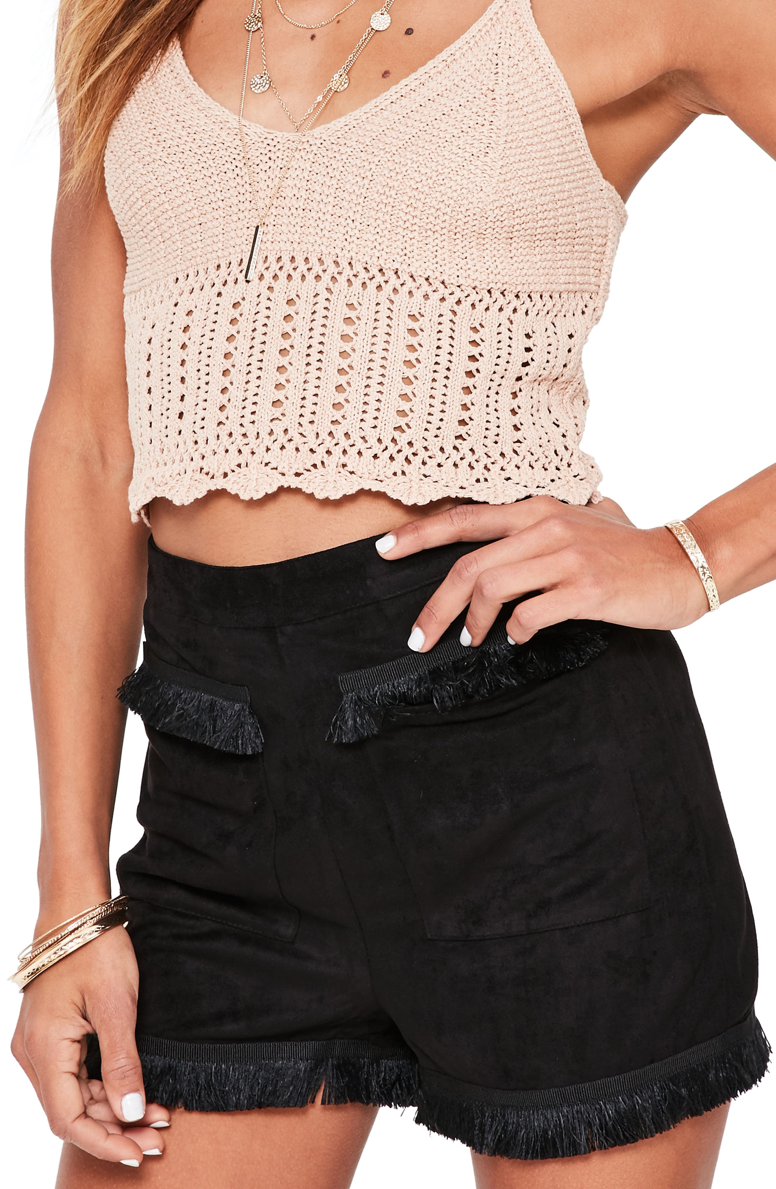 Alternate Image 3  - Missguided Fringe Detail Faux Suede Shorts
