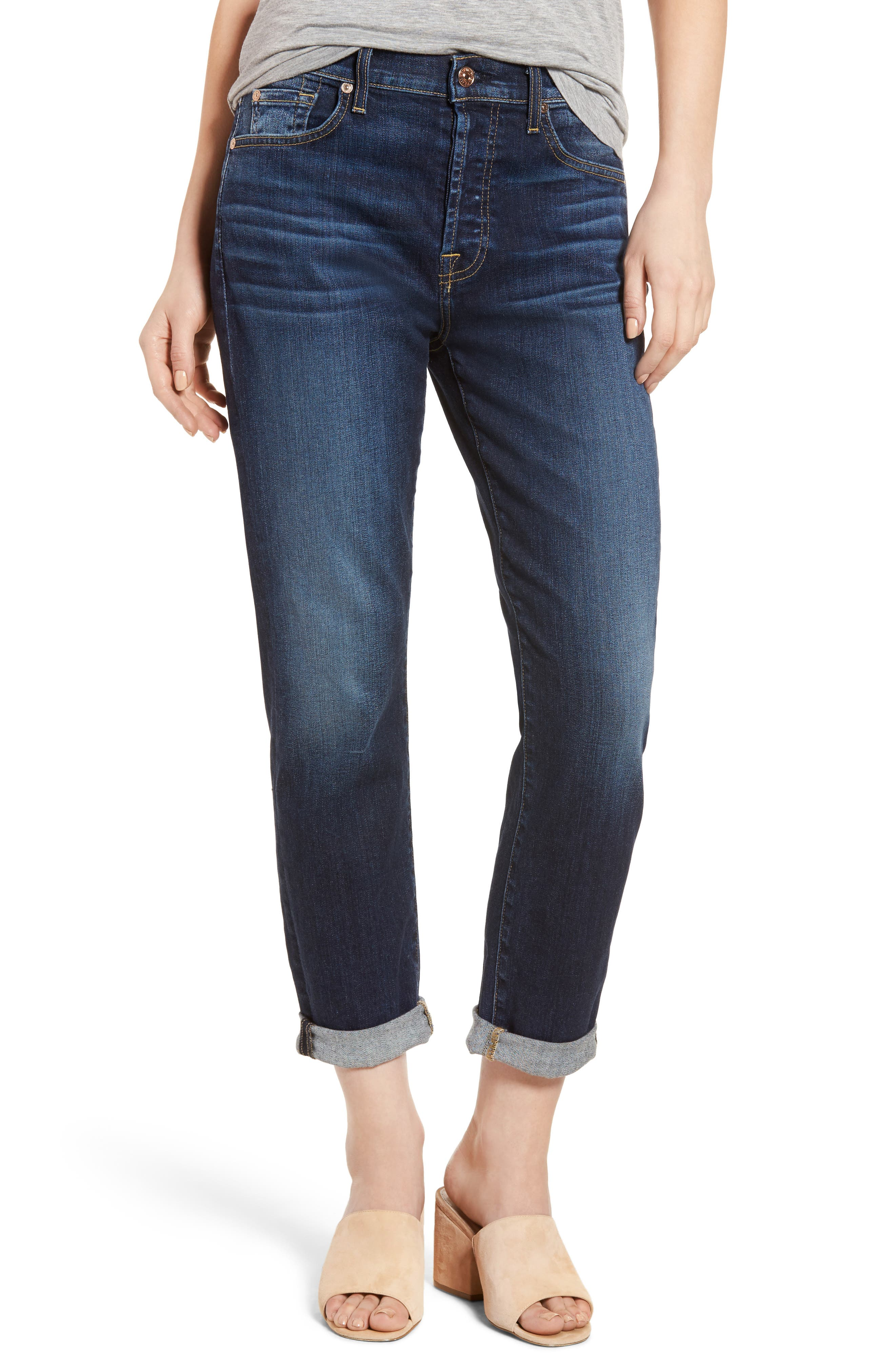 7 For All Mankind® Josefina High Waist Crop Boyfriend Jeans (Aggressive Madison Ave)