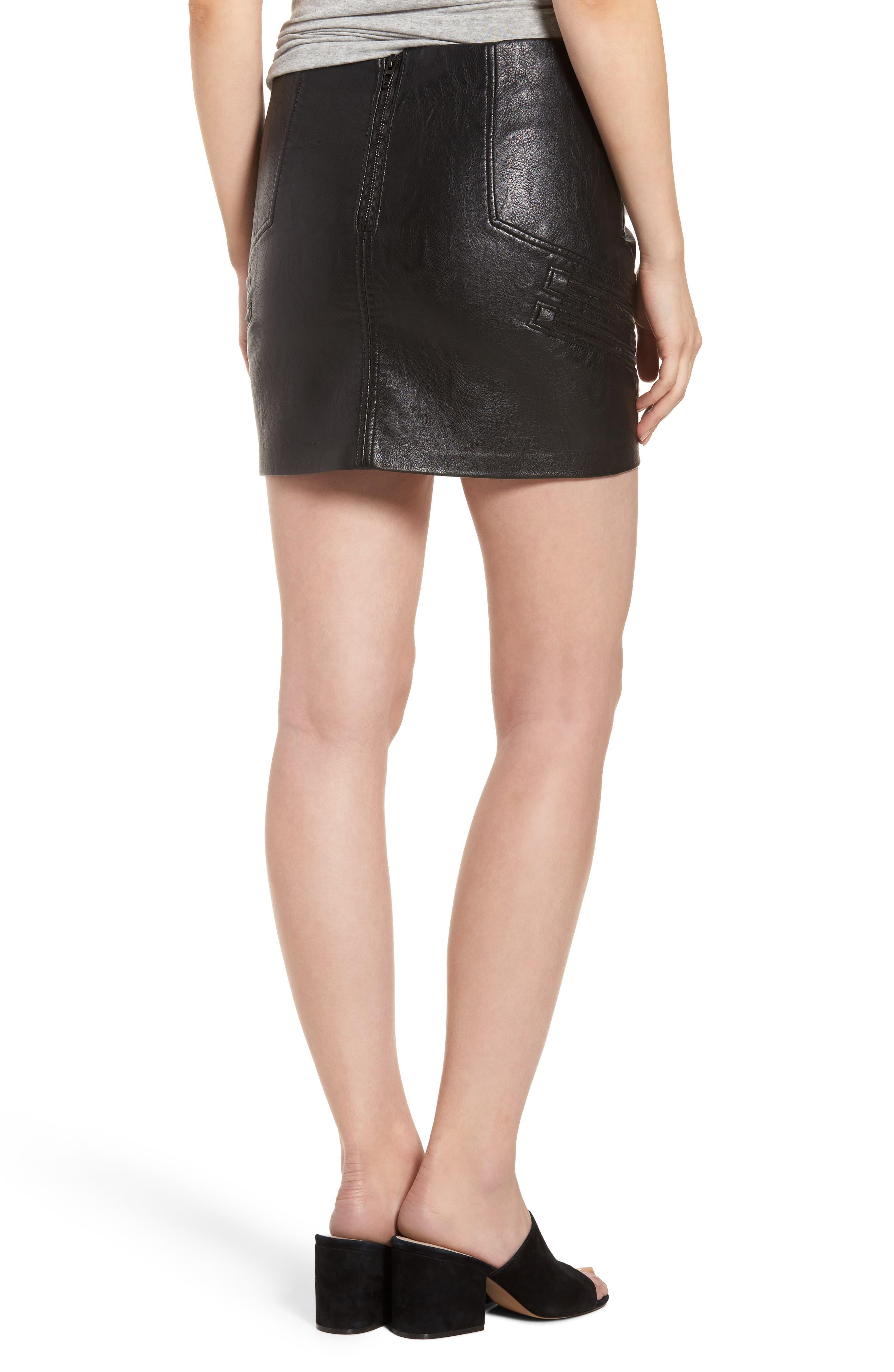 High Waist Zip Miniskirt,                             Alternate thumbnail 3, color,                             True Black