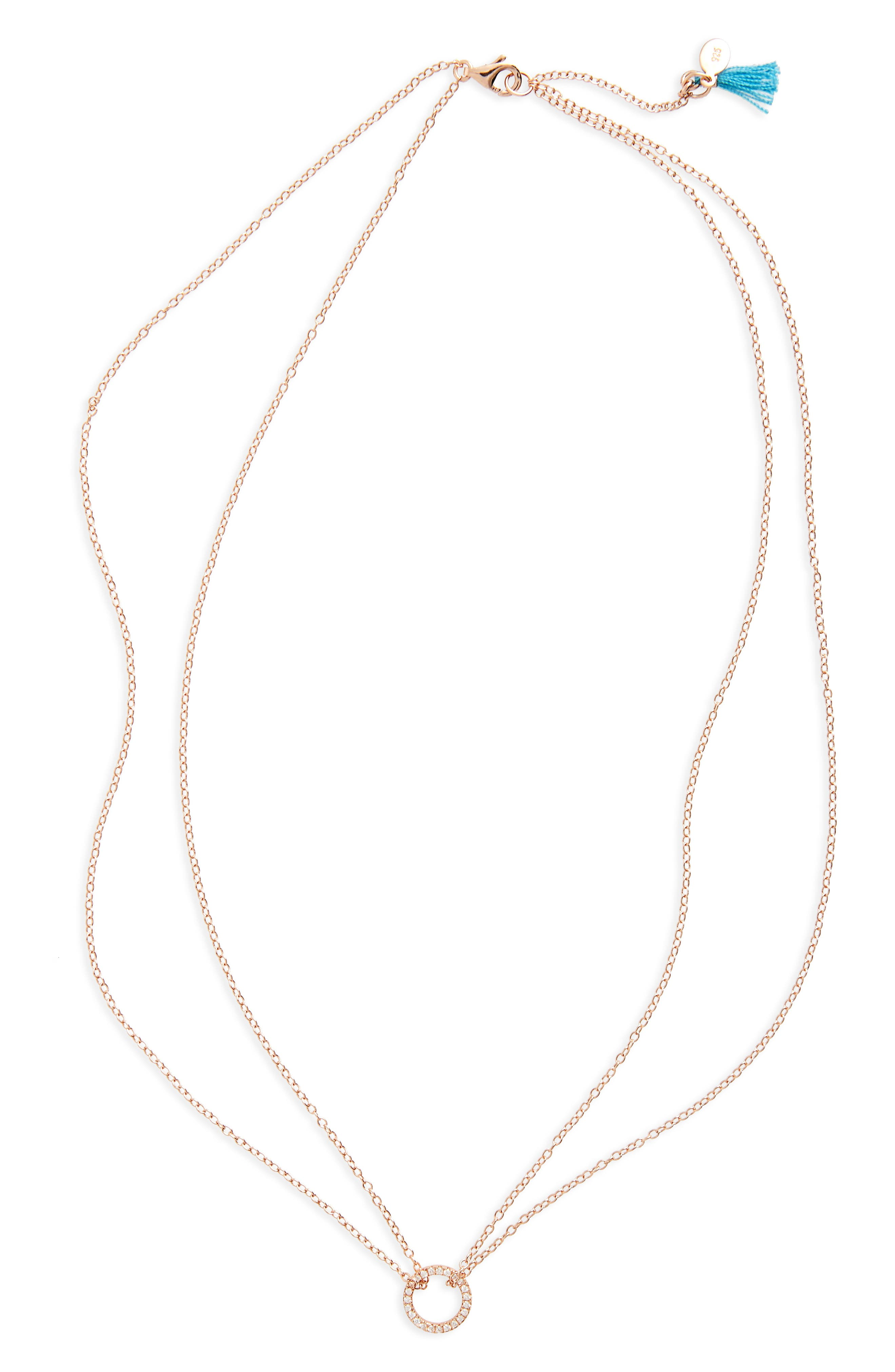 SHASHI Pavé Circle Pendant Necklace