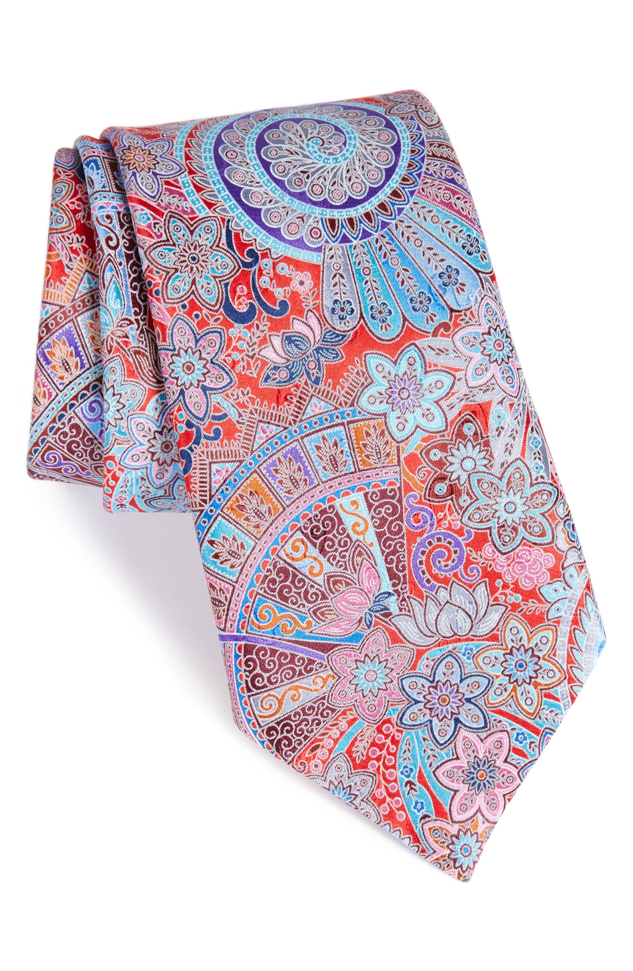Quindici Paisley Silk Tie,                         Main,                         color, Medium Red Fan