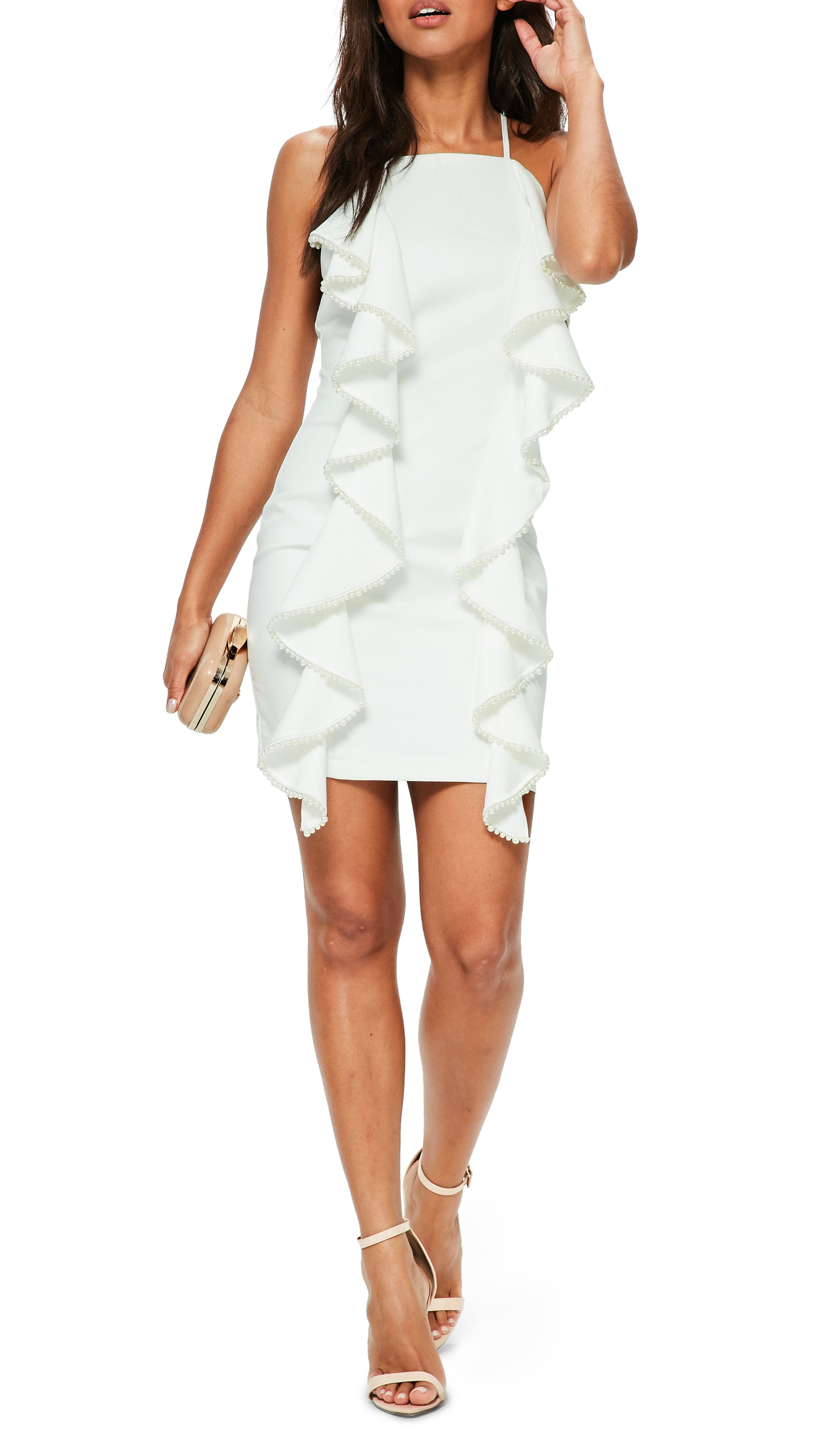 Frill & Pearl Body-Con Dress,                         Main,                         color, White