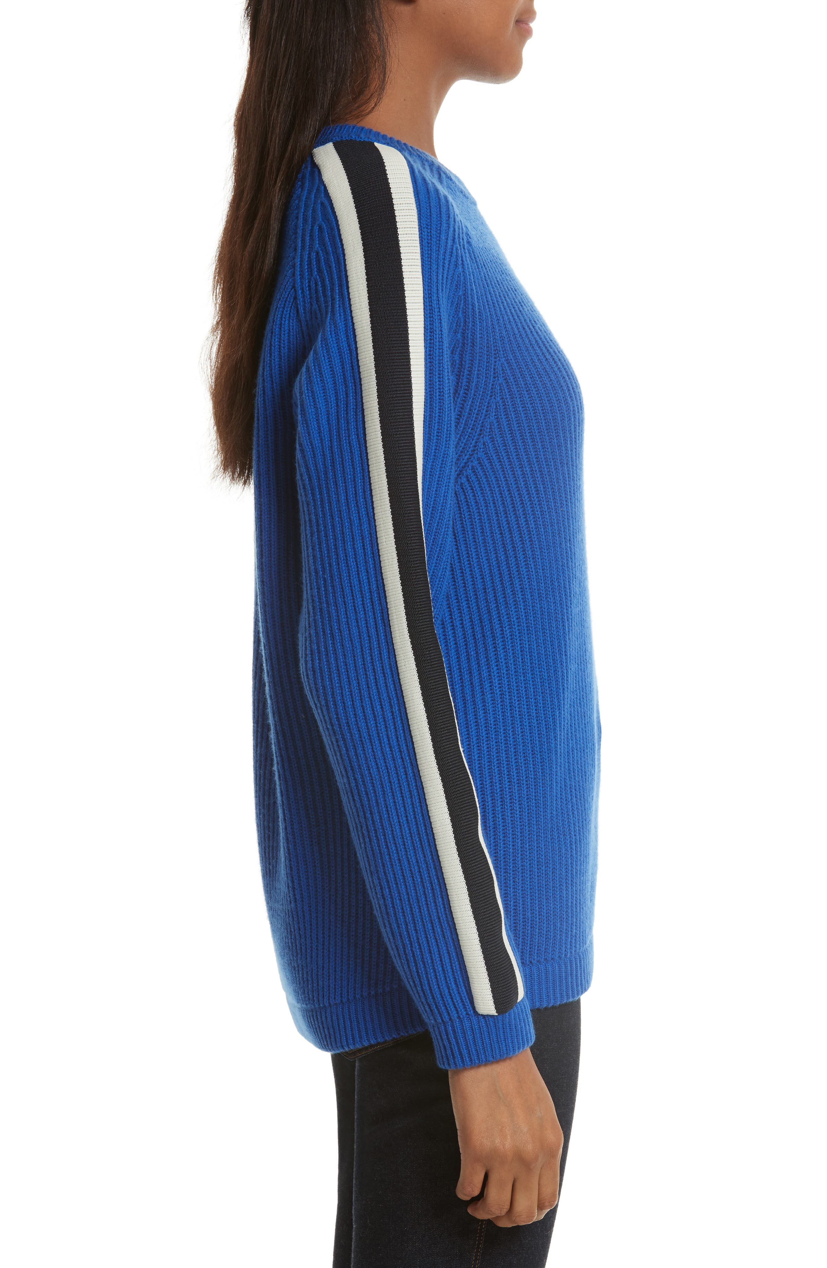 Val Stripe Sleeve Sweater,                             Alternate thumbnail 3, color,                             Blue Dahlia