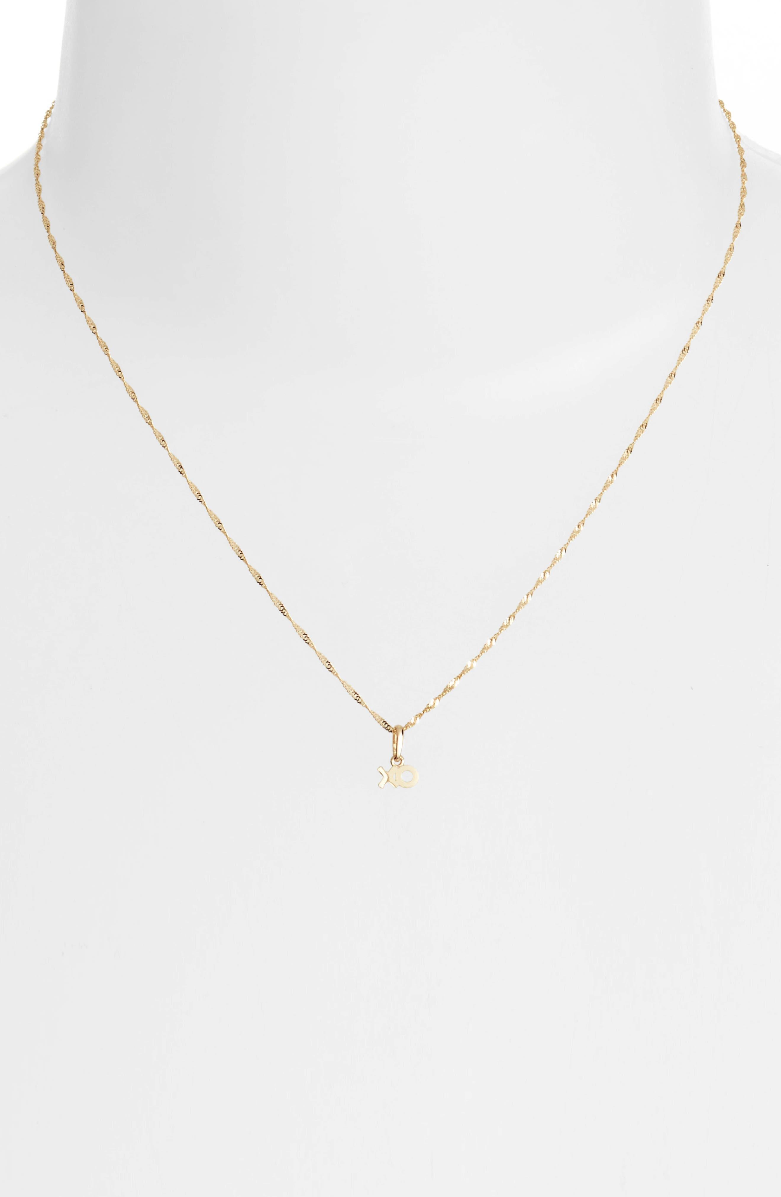 XO Charm Short Pendant Necklace,                             Alternate thumbnail 2, color,                             Yellow Gold
