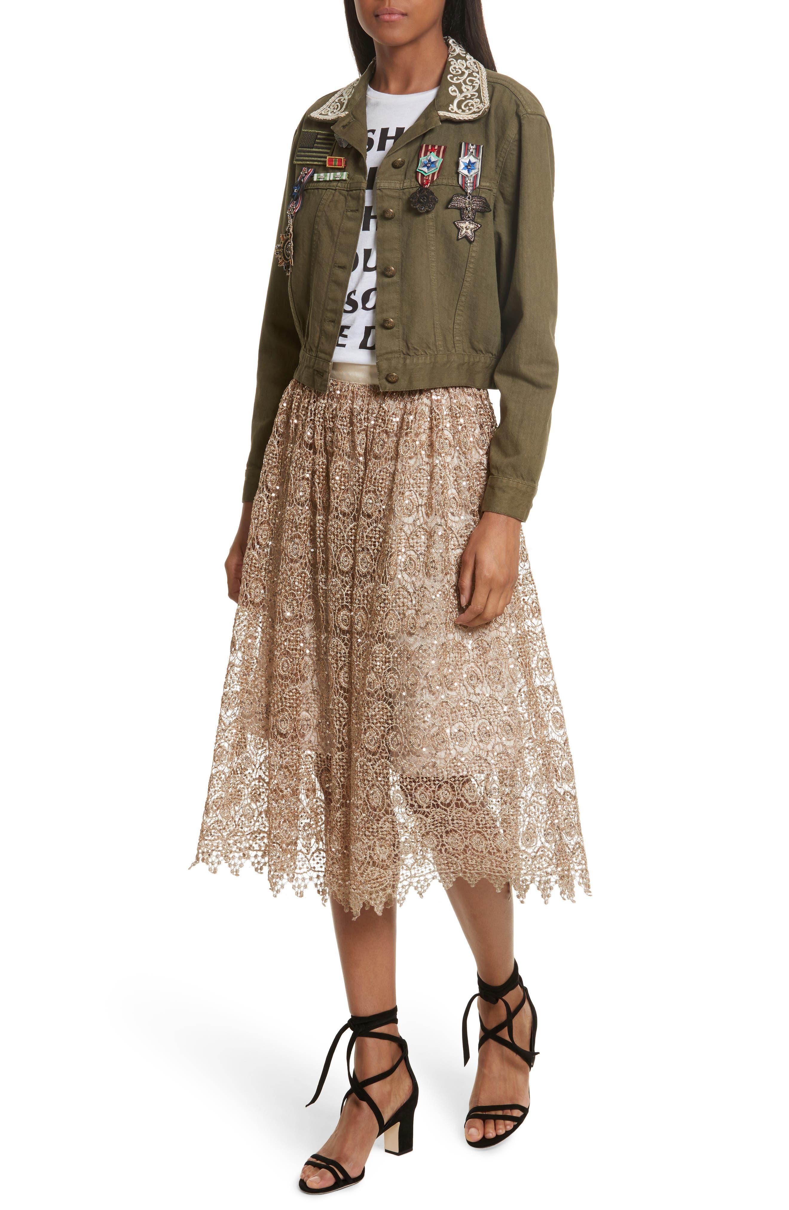Metallic Lace Skirt,                             Alternate thumbnail 3, color,                             Gold