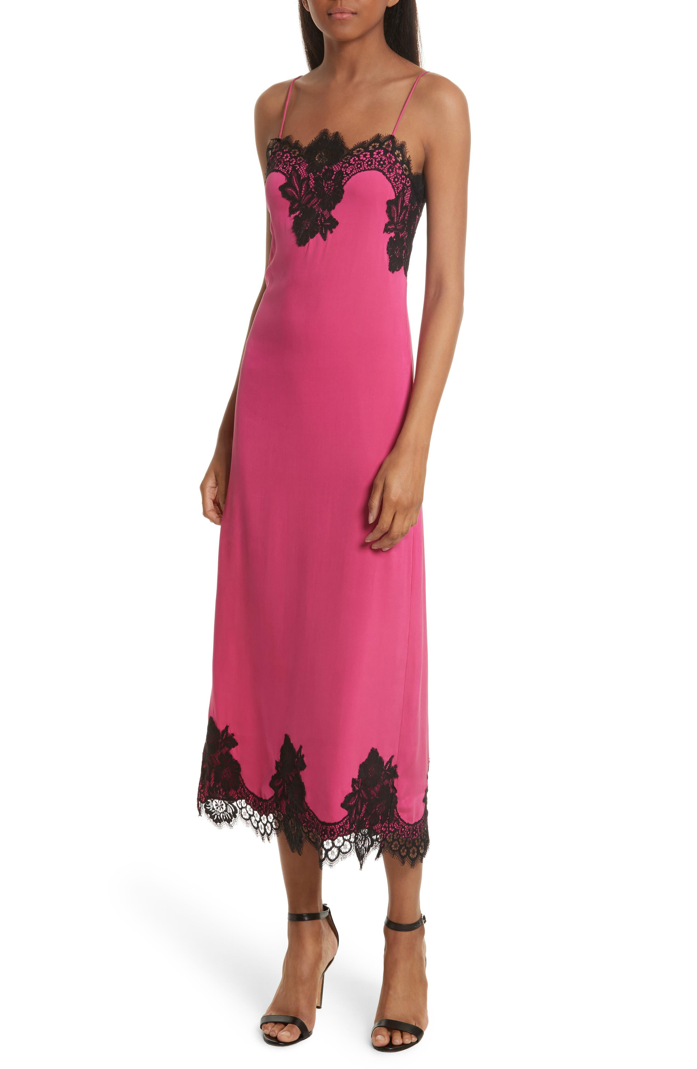 Luna Lace Trim Stretch Silk Slipdress,                         Main,                         color, Fuchsia Black
