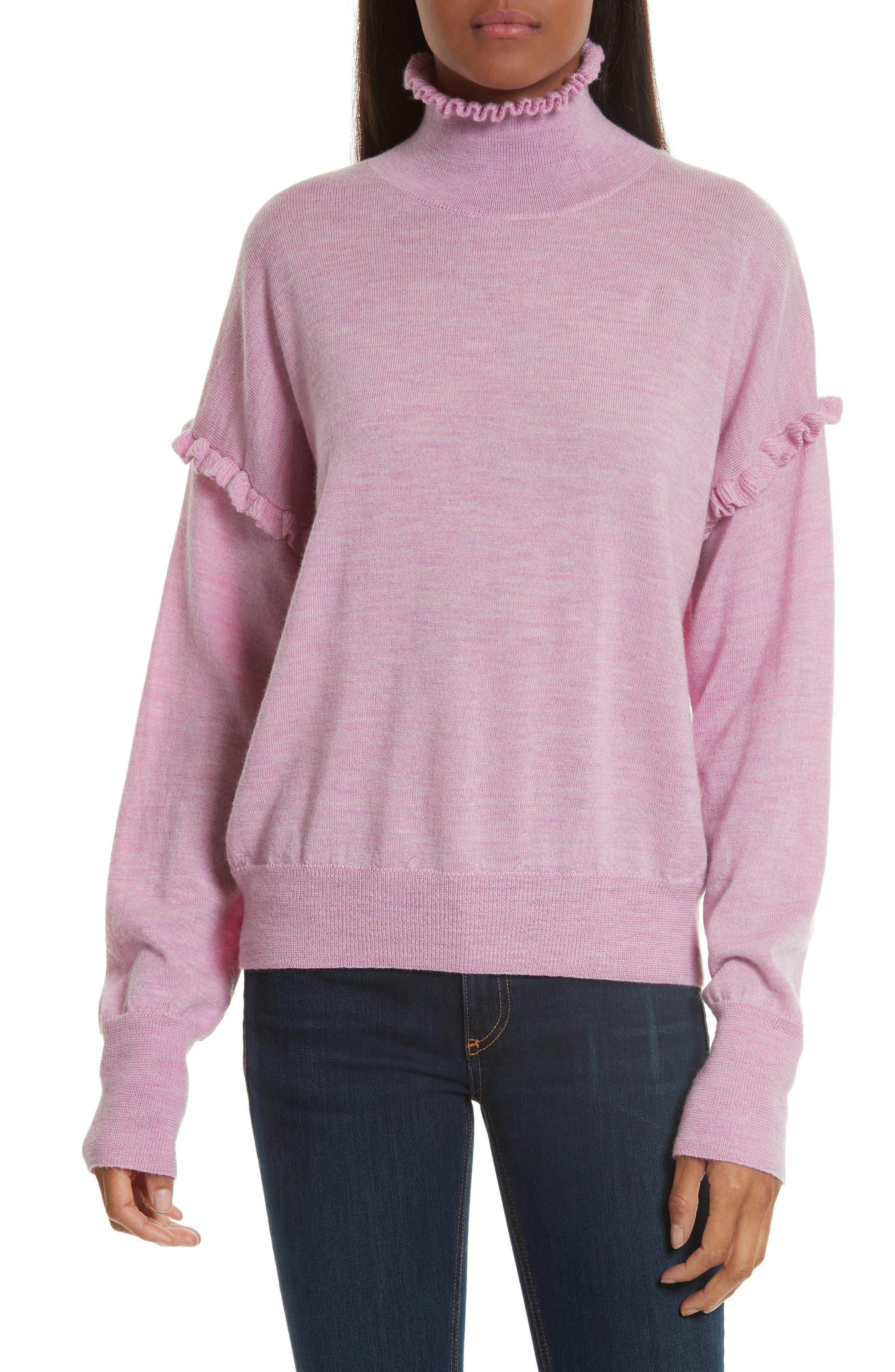 Turtleneck Merino Wool Sweater,                         Main,                         color, Iris