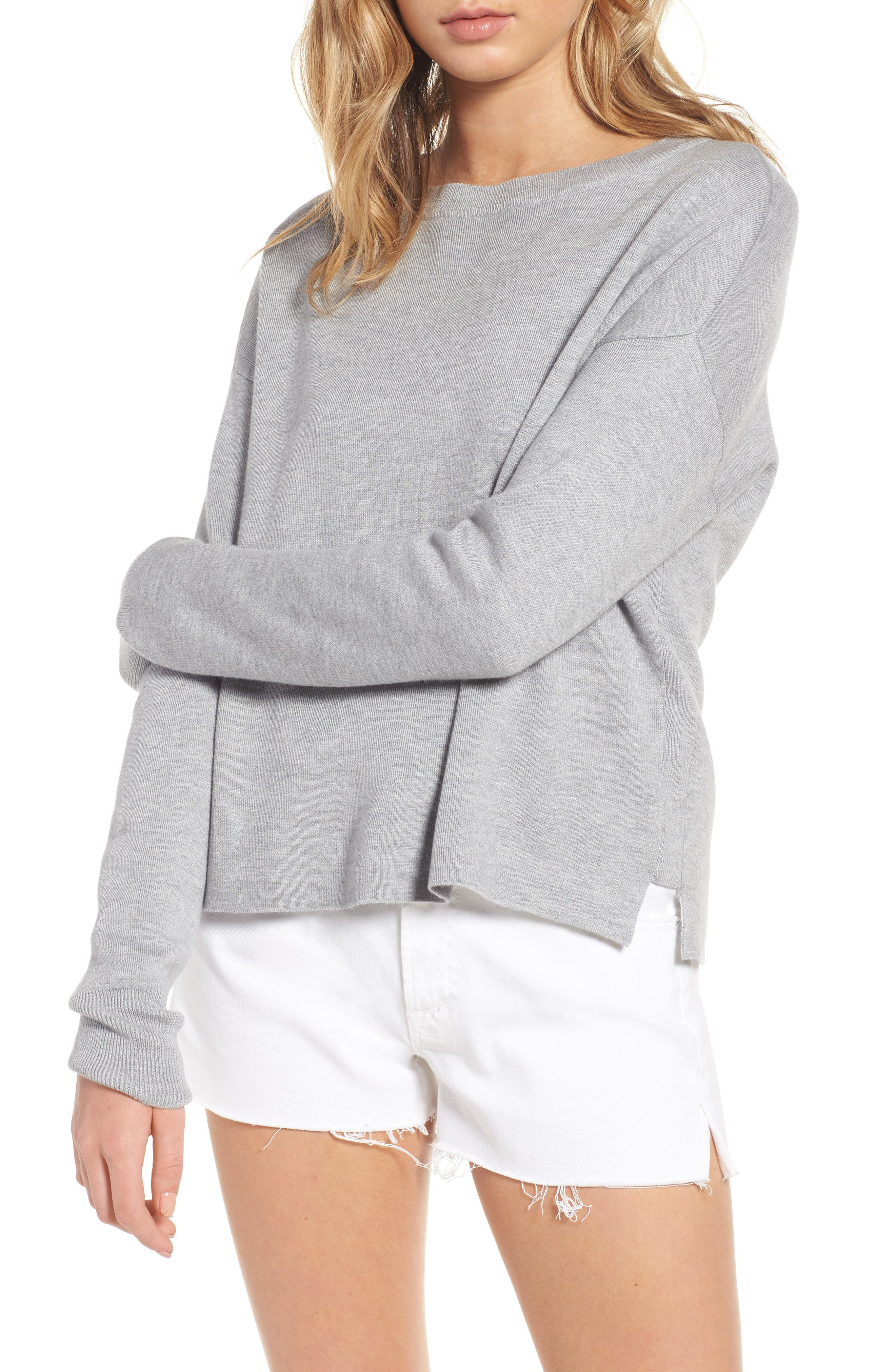 Devon Crossback Sweater,                             Main thumbnail 1, color,                             Light Heather Grey