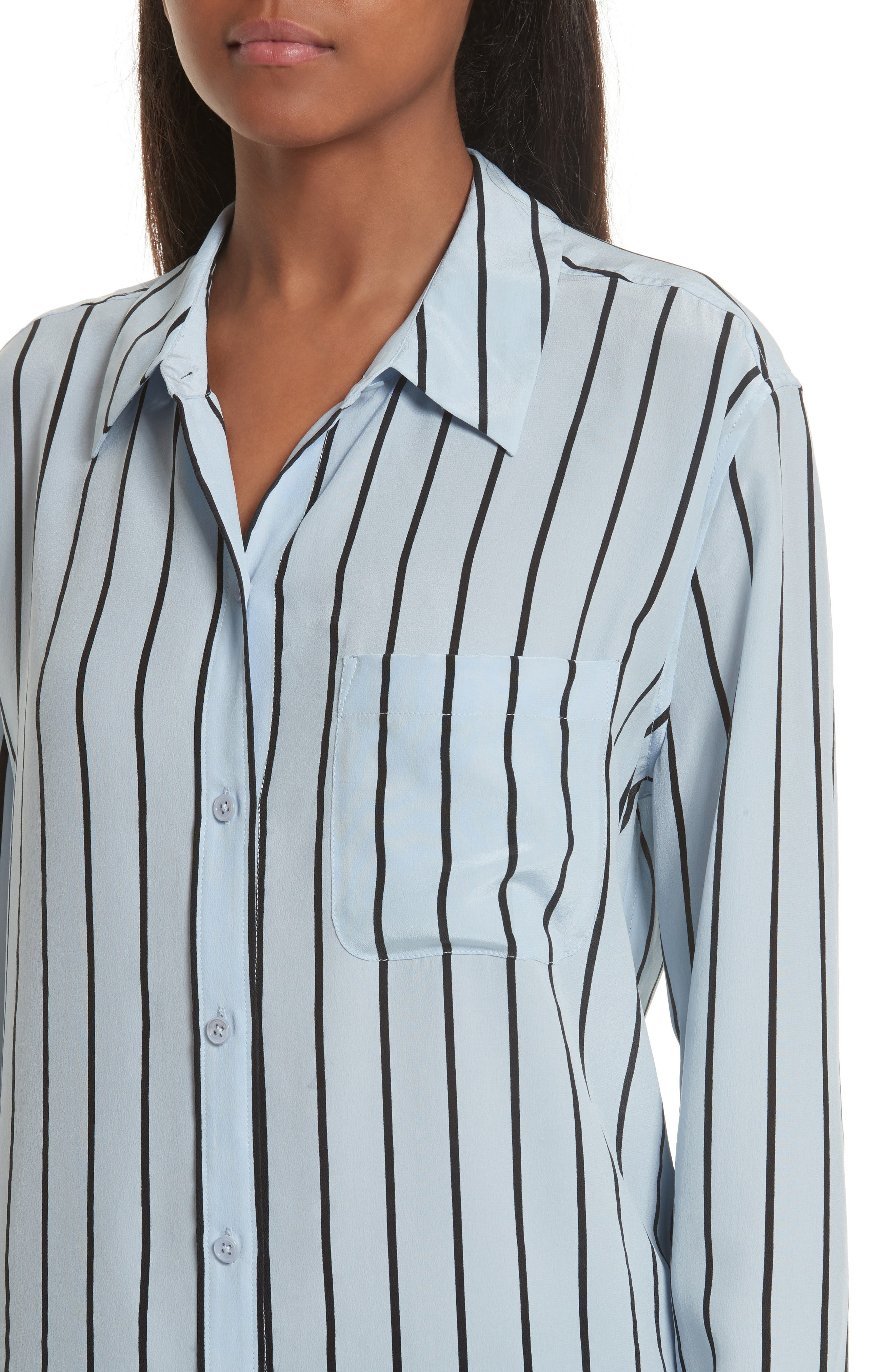 Daddy Oversize Stripe Silk Shirt,                             Alternate thumbnail 4, color,                             Pear Blue/ True Black