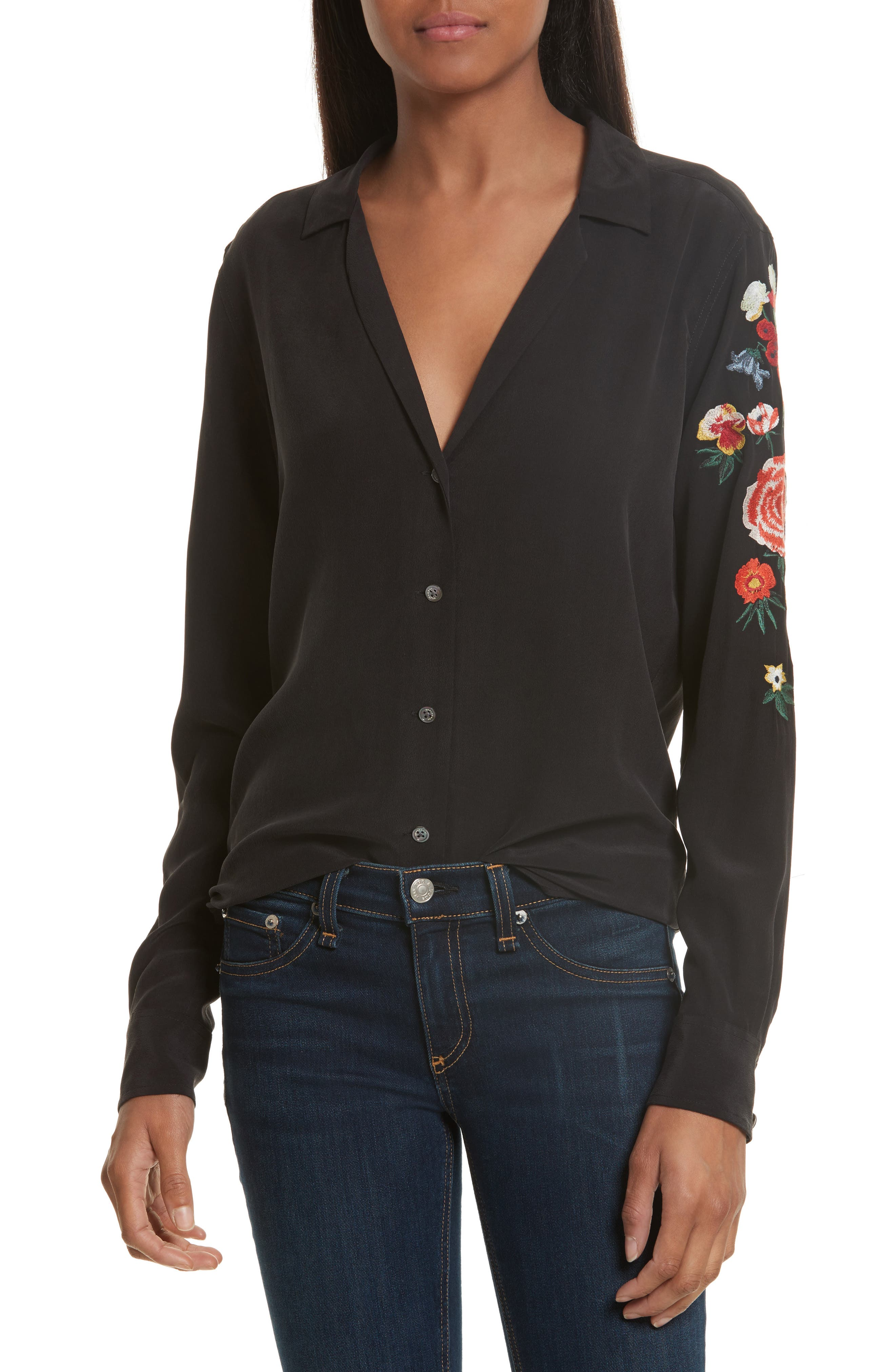 EQUIPMENT Adalyn Floral Embroidered Silk Shirt
