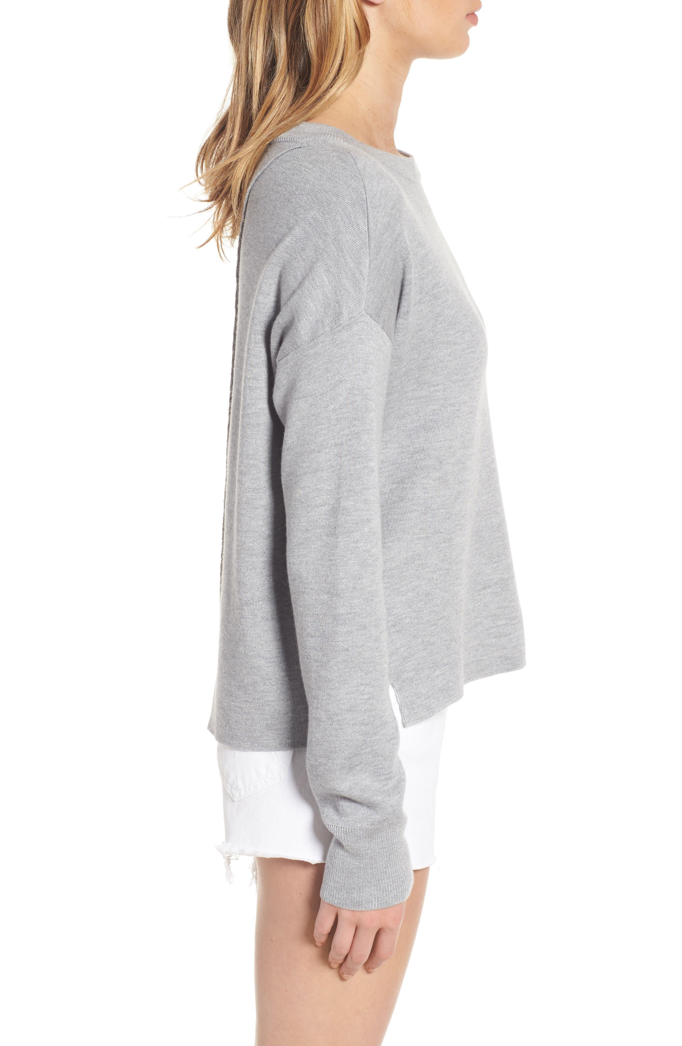 Devon Crossback Sweater,                             Alternate thumbnail 3, color,                             Light Heather Grey