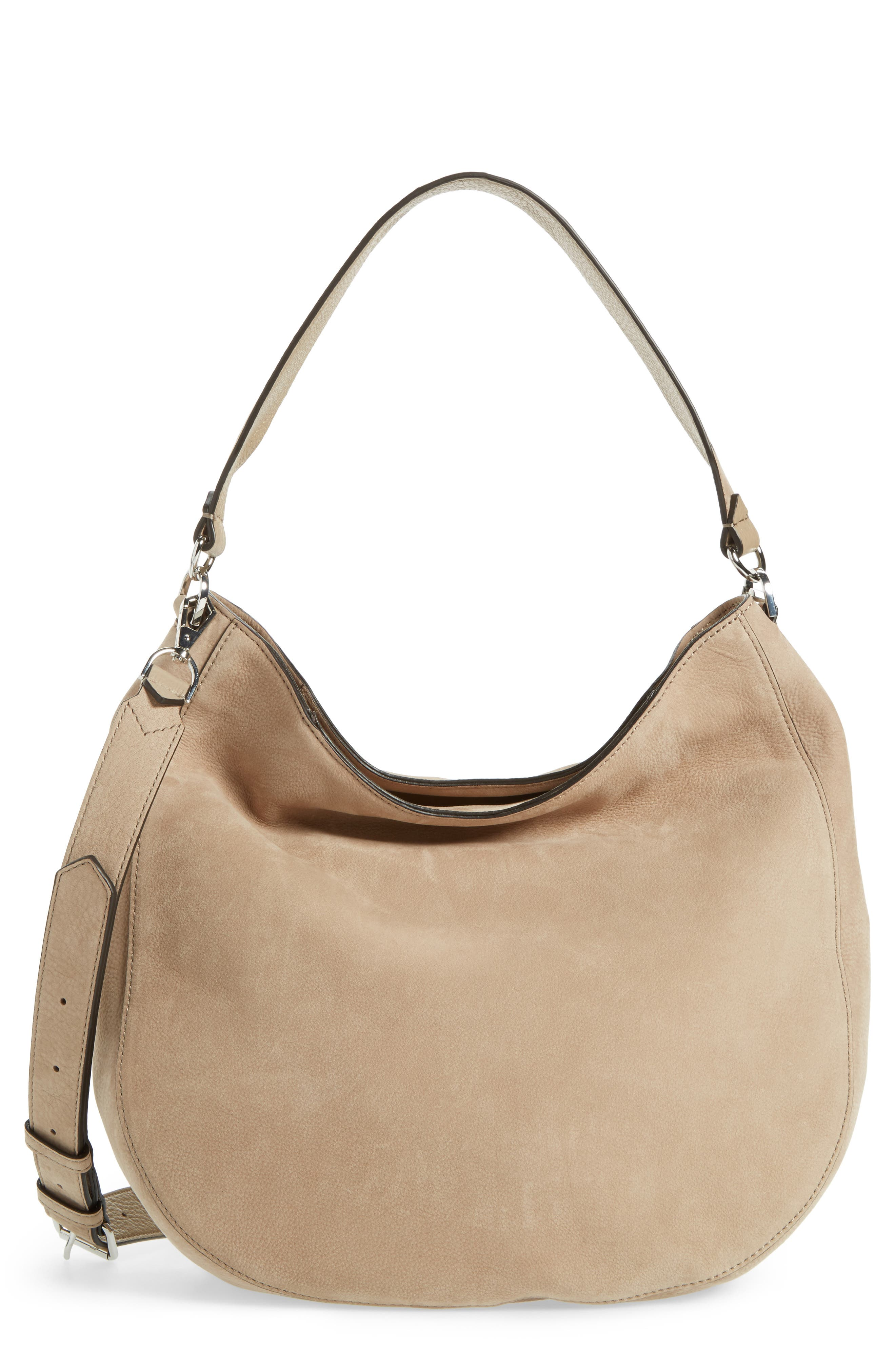 REBECCA MINKOFF Convertible Nubuck Hobo with Embroidered Strap