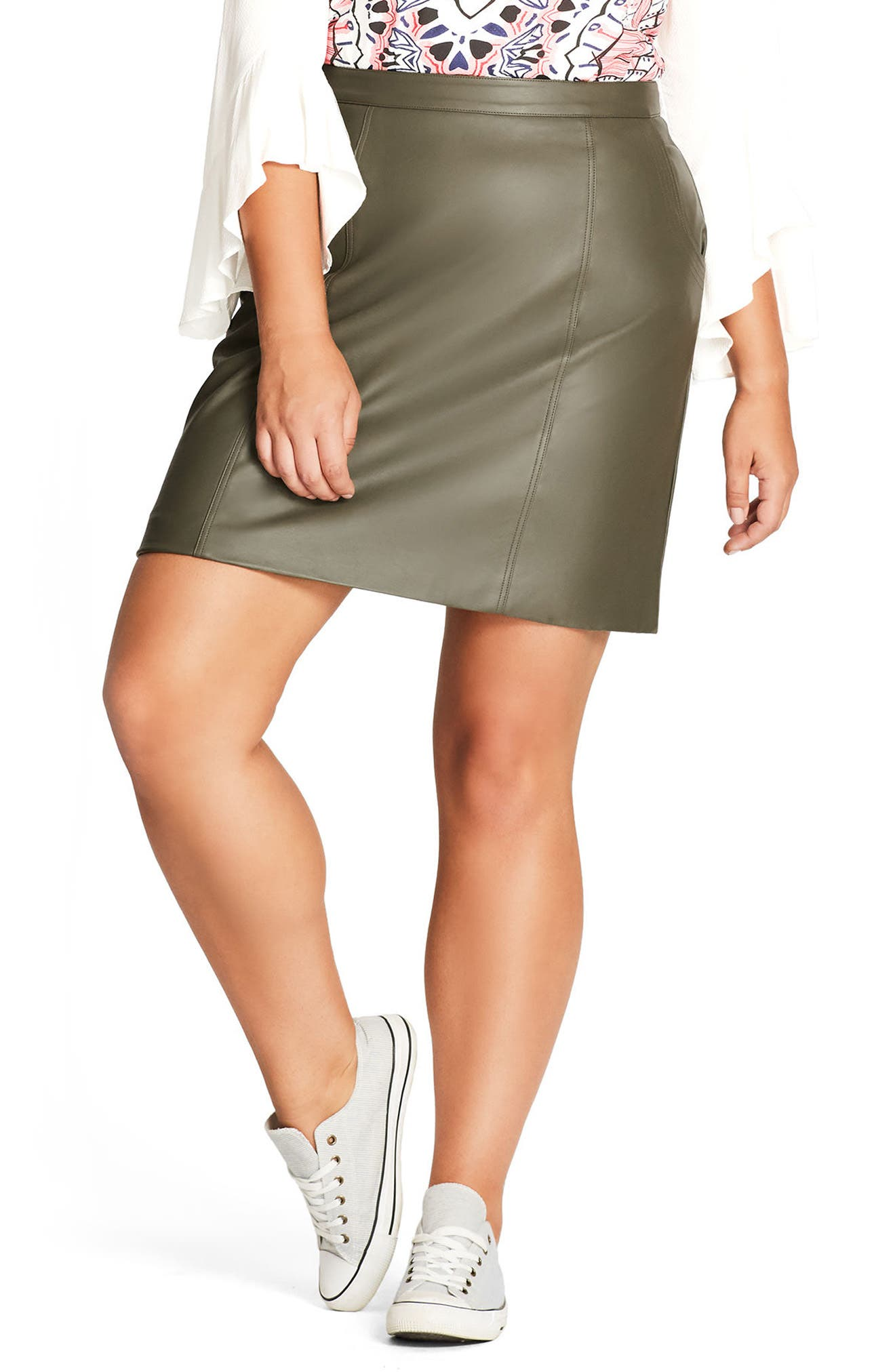 Faux Leather Miniskirt,                         Main,                         color, Khaki