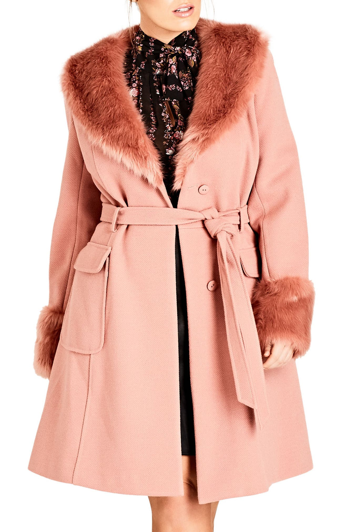 Alternate Image 1 Selected - City Chic Make Me Blush Faux Fur Peacoat (Plus Size)