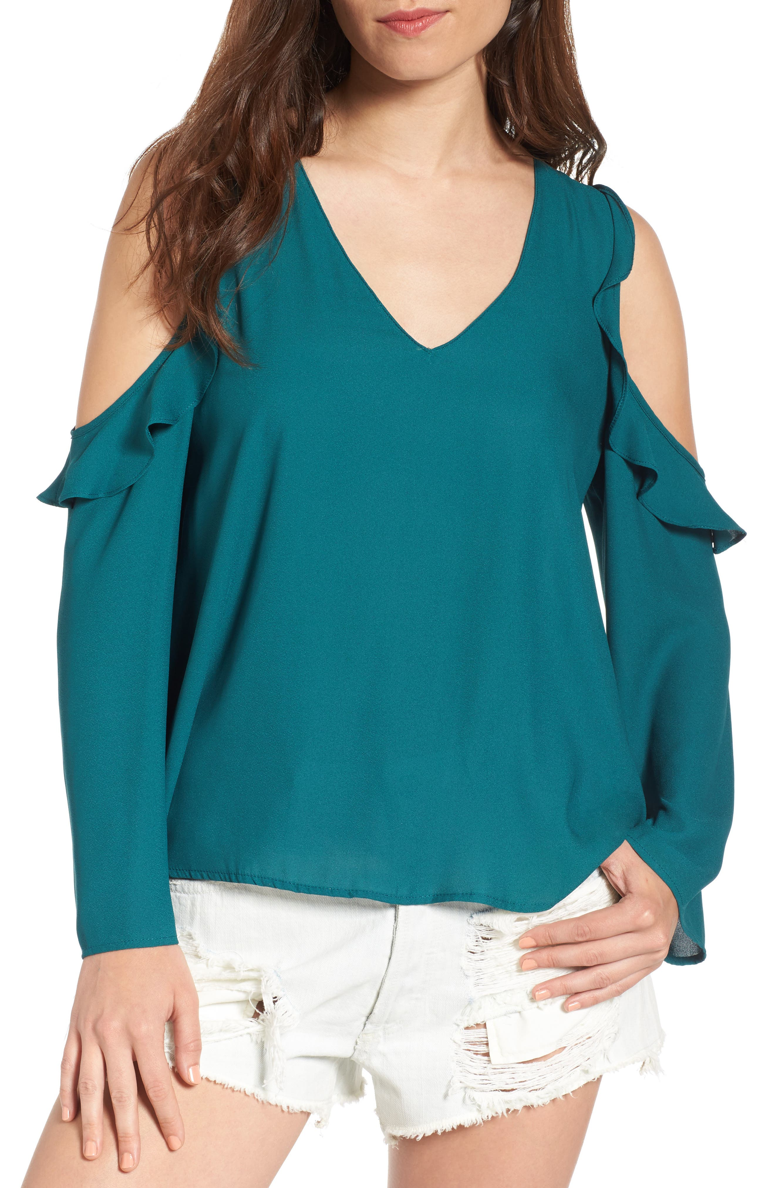 LUSH Cold Shoulder Ruffle Top
