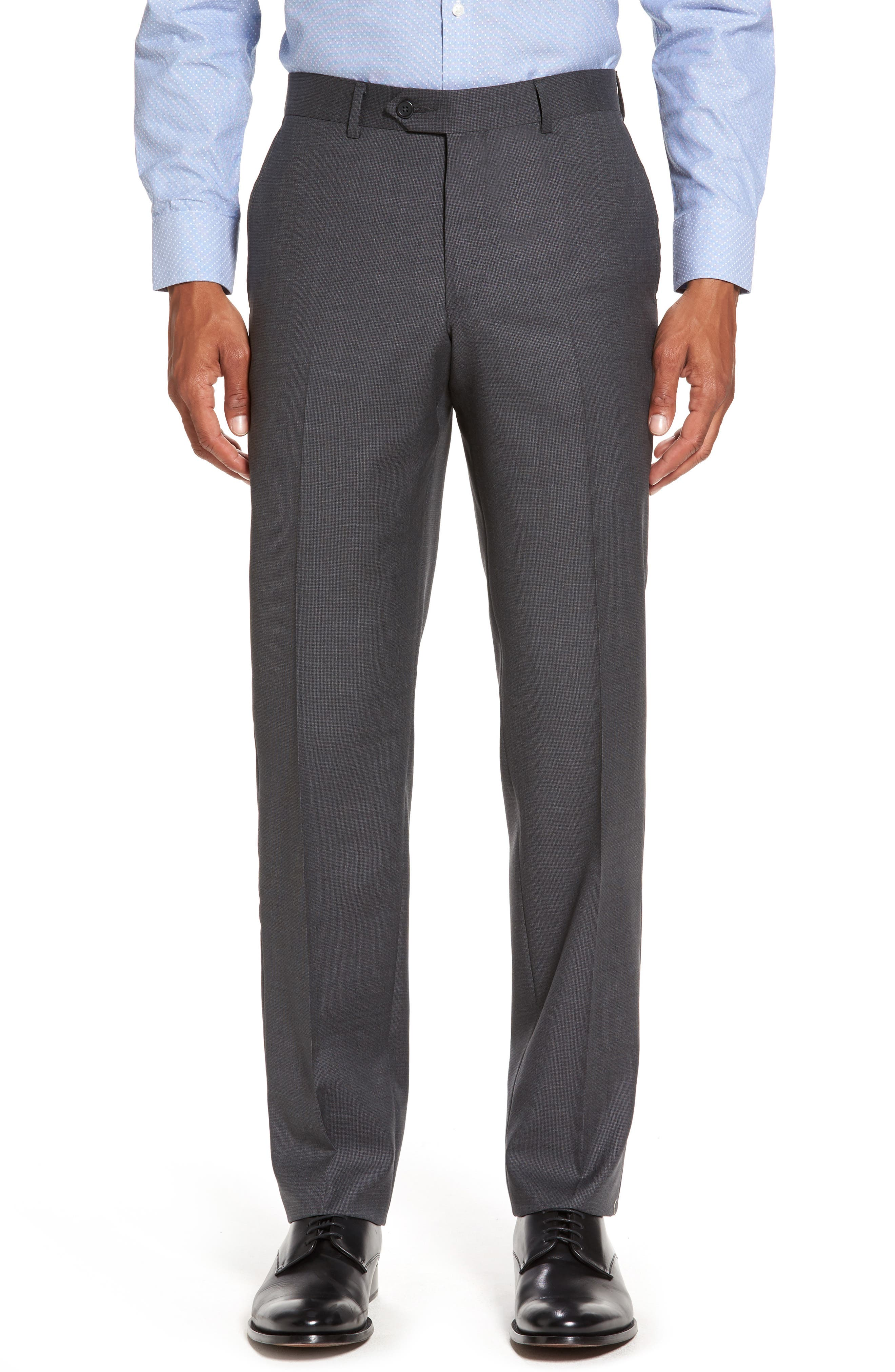 Flat Front Solid Wool Suit Trousers,                         Main,                         color, Charcoal