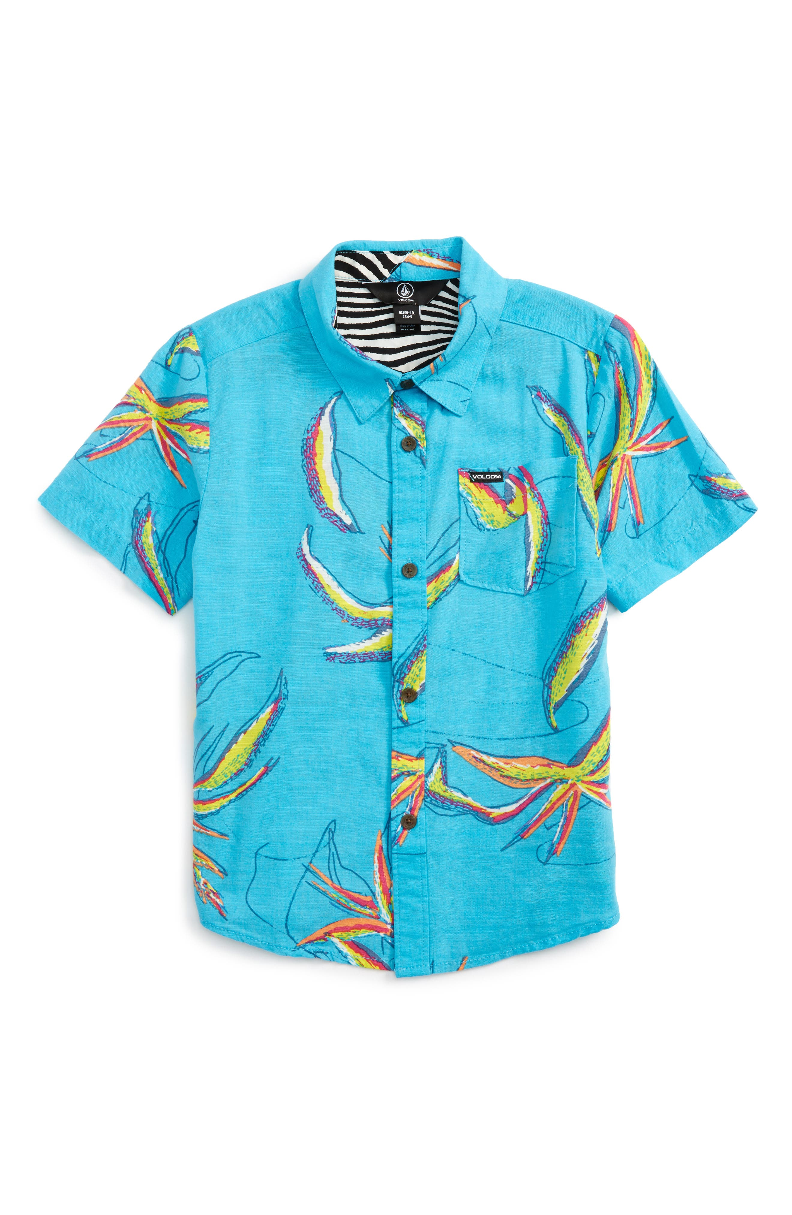 Motel Floral Short Sleeve Woven Shirt,                             Main thumbnail 1, color,                             Dusty Aqua