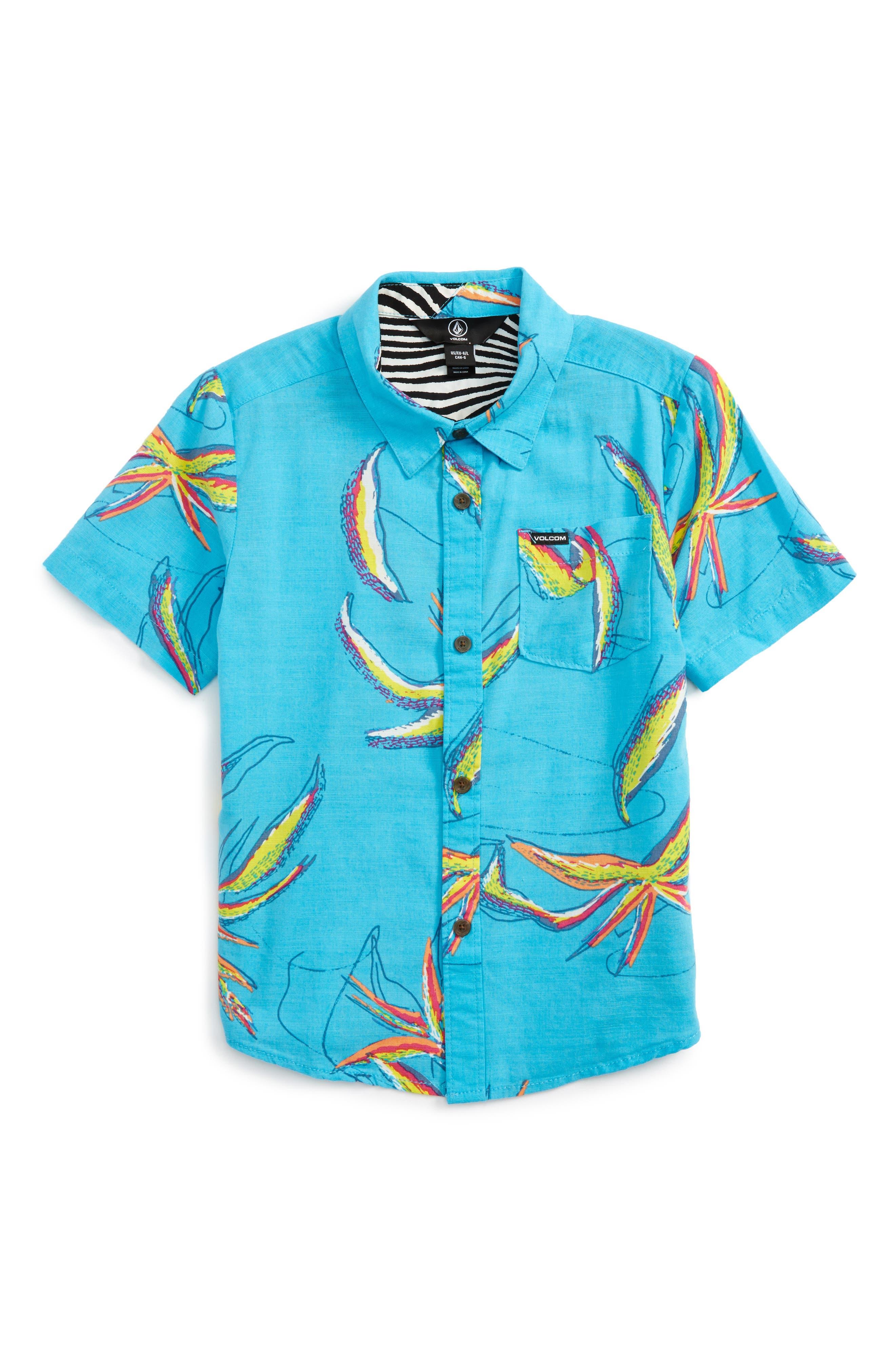 Main Image - Volcom Motel Floral Short Sleeve Woven Shirt (Toddler Boys & Little Boys)