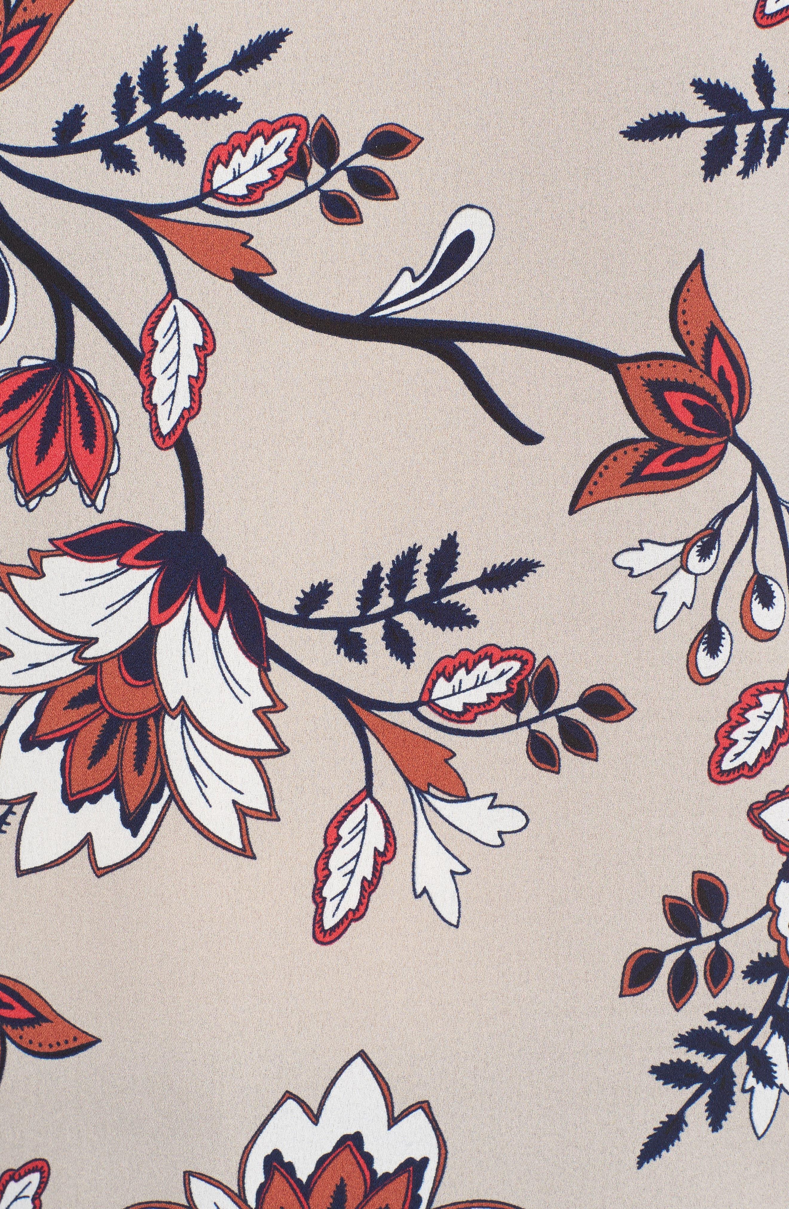 Greta Bell Sleeve Blouse,                             Alternate thumbnail 5, color,                             Sand Floral Print