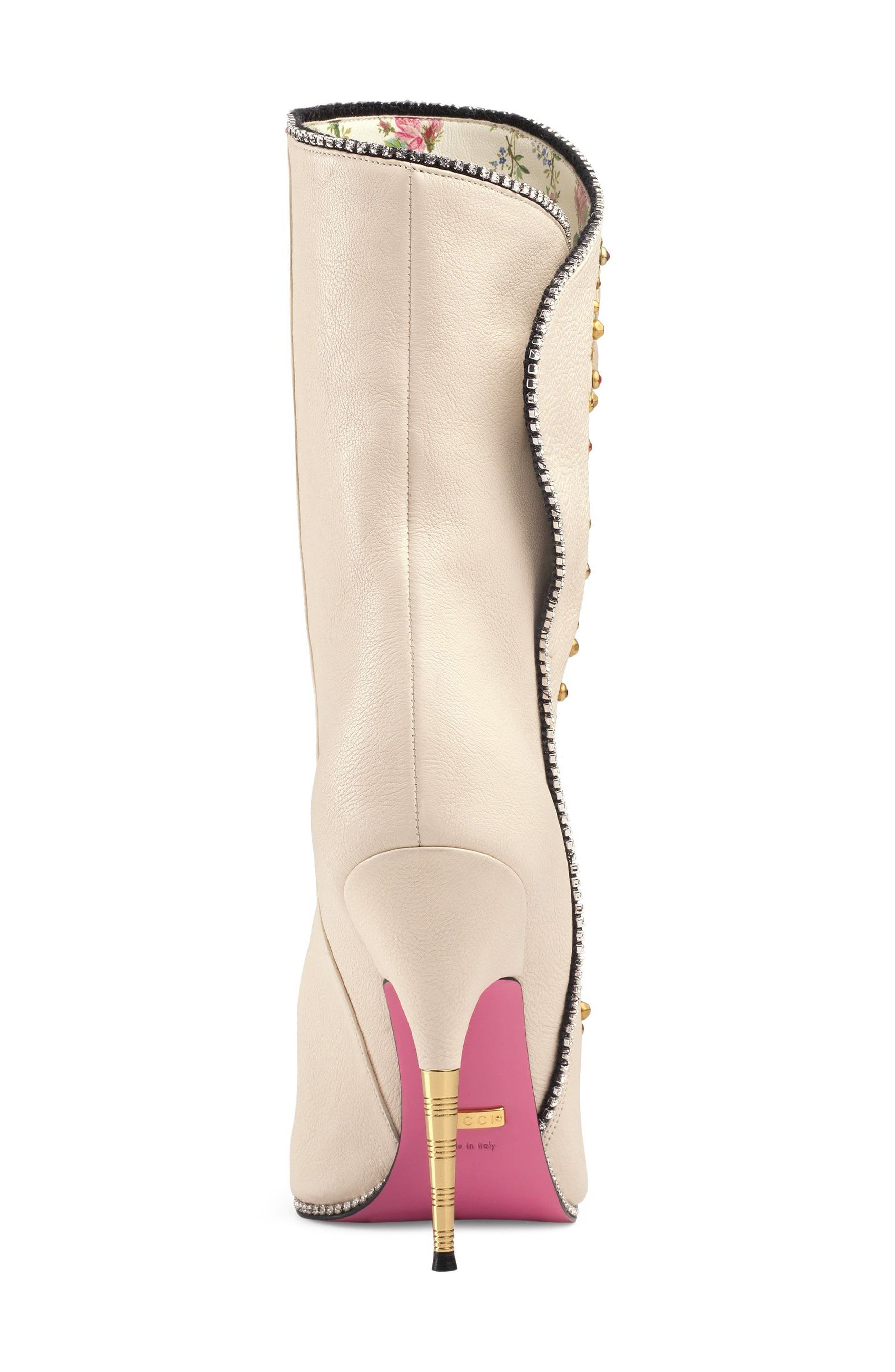 Fosca Floral Embellished Pointy Toe Boot,                             Alternate thumbnail 4, color,                             White Floral