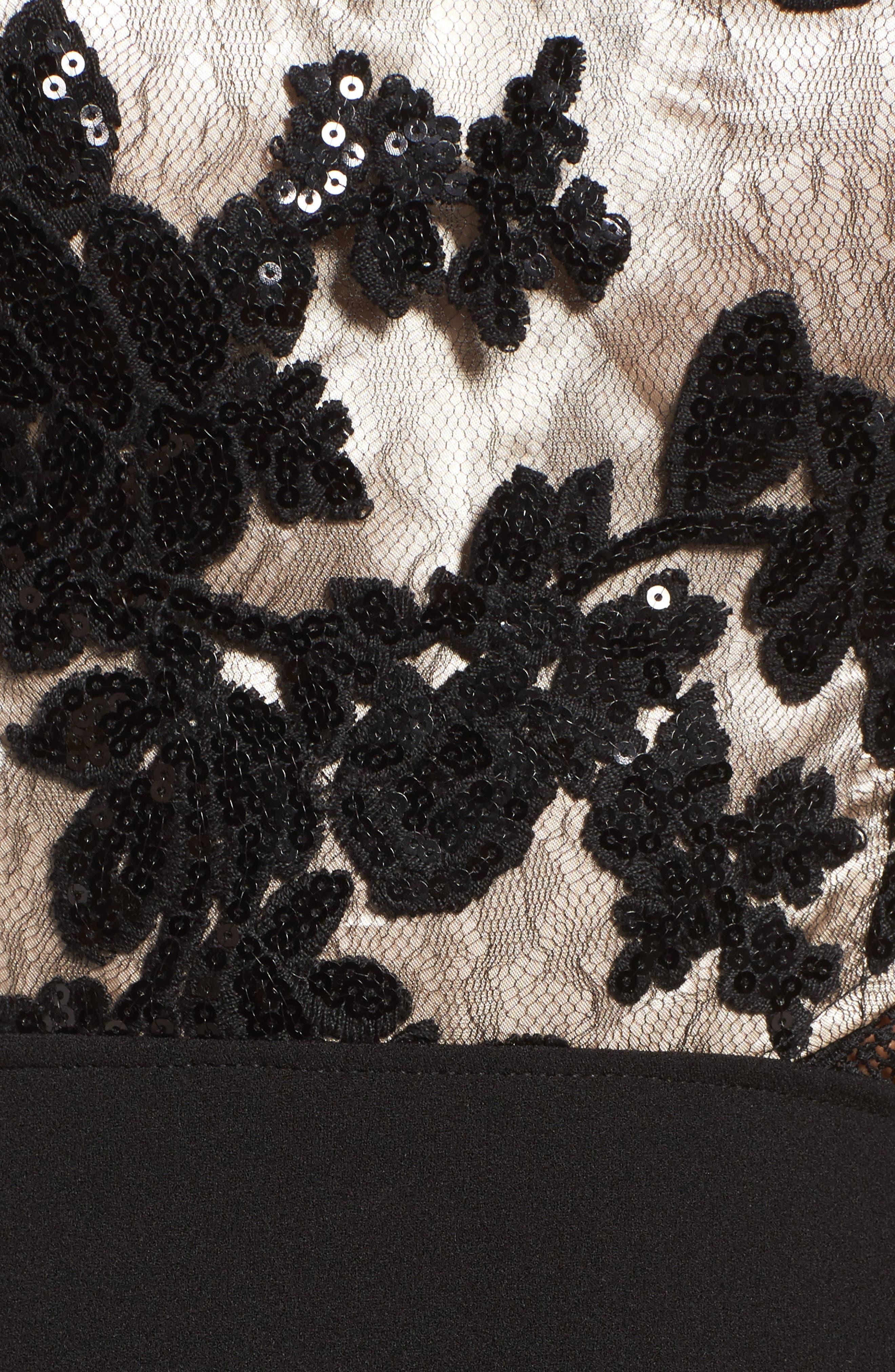 Cutout Embellished Lace & Scuba Gown,                             Alternate thumbnail 5, color,                             Black/ Champagne