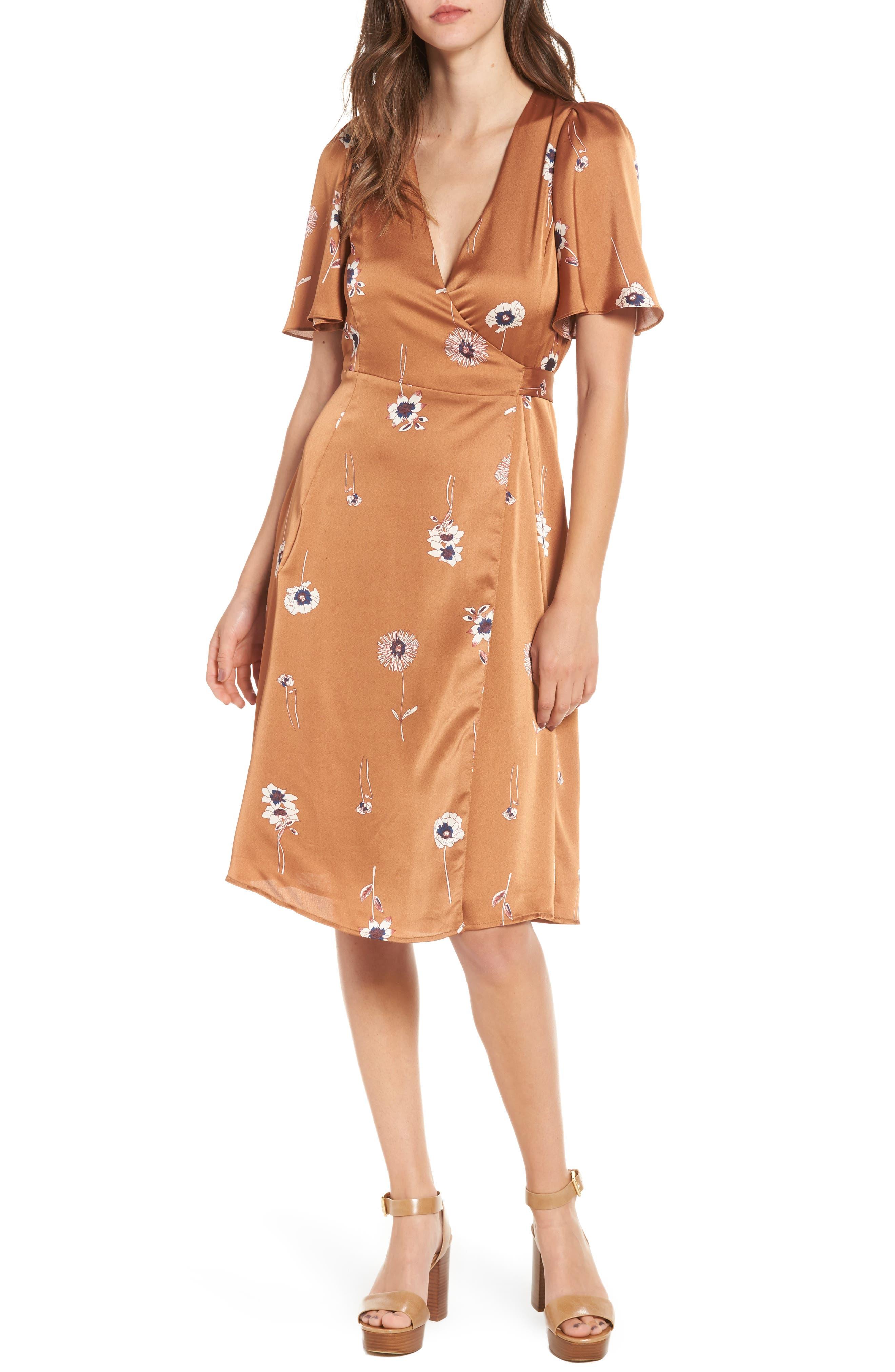 Fiona Wrap Dress,                         Main,                         color, Bronze Floral