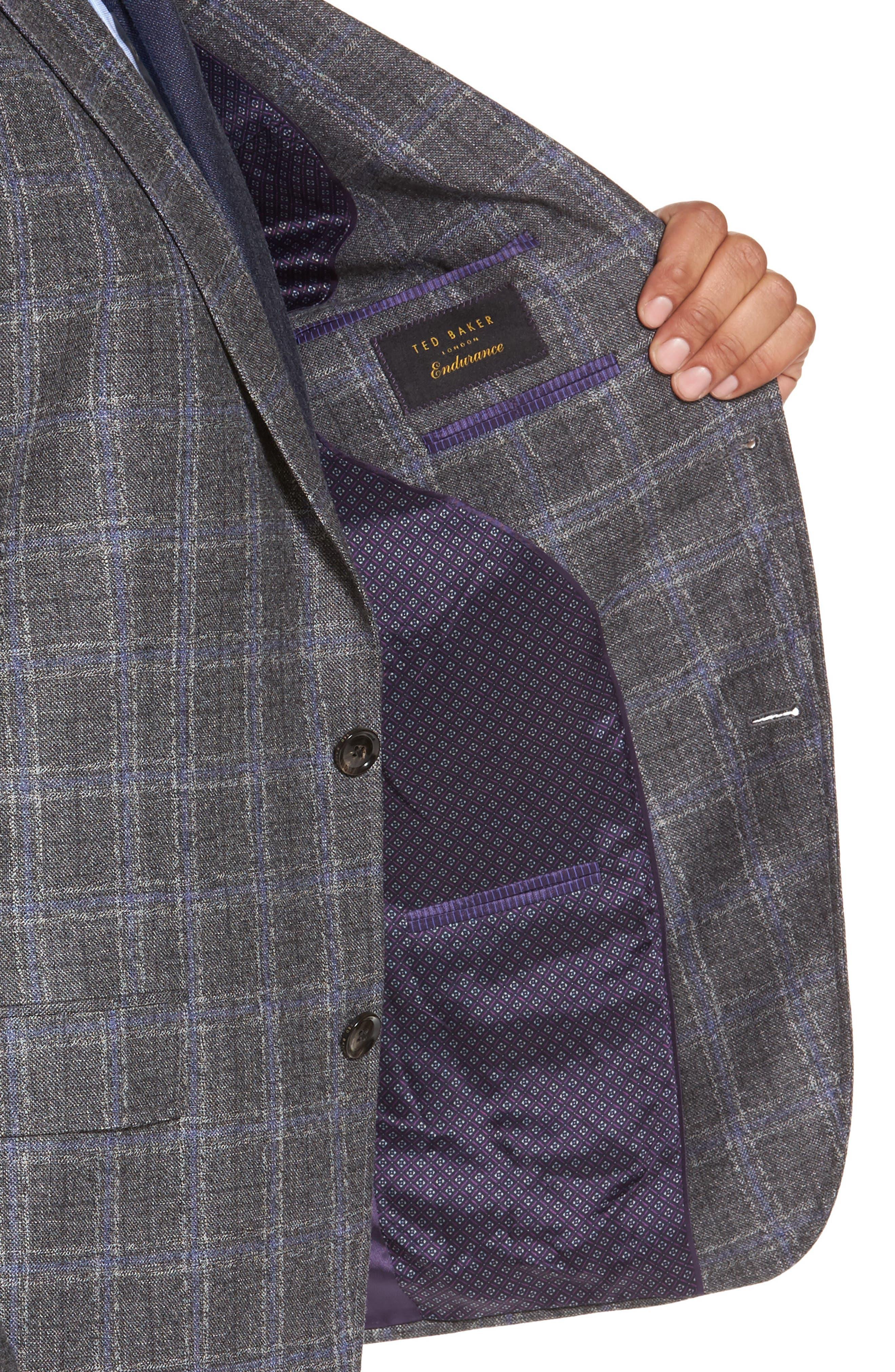 Tivoli Trim Fit Plaid Wool Sport Coat,                             Alternate thumbnail 4, color,                             Light Grey