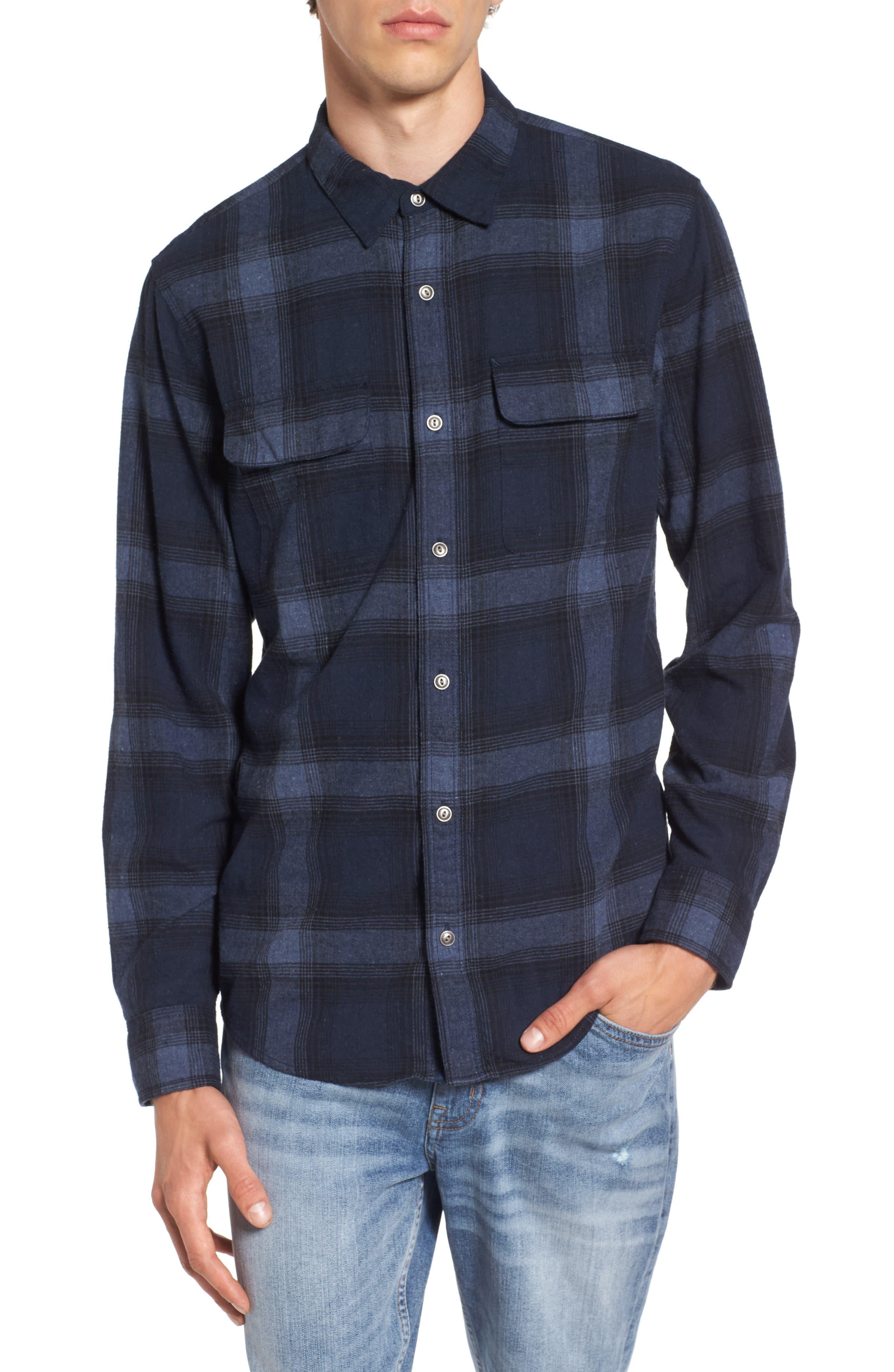 Owen Plaid Flannel Sport Shirt,                         Main,                         color, Navy Peacoat West Plaid