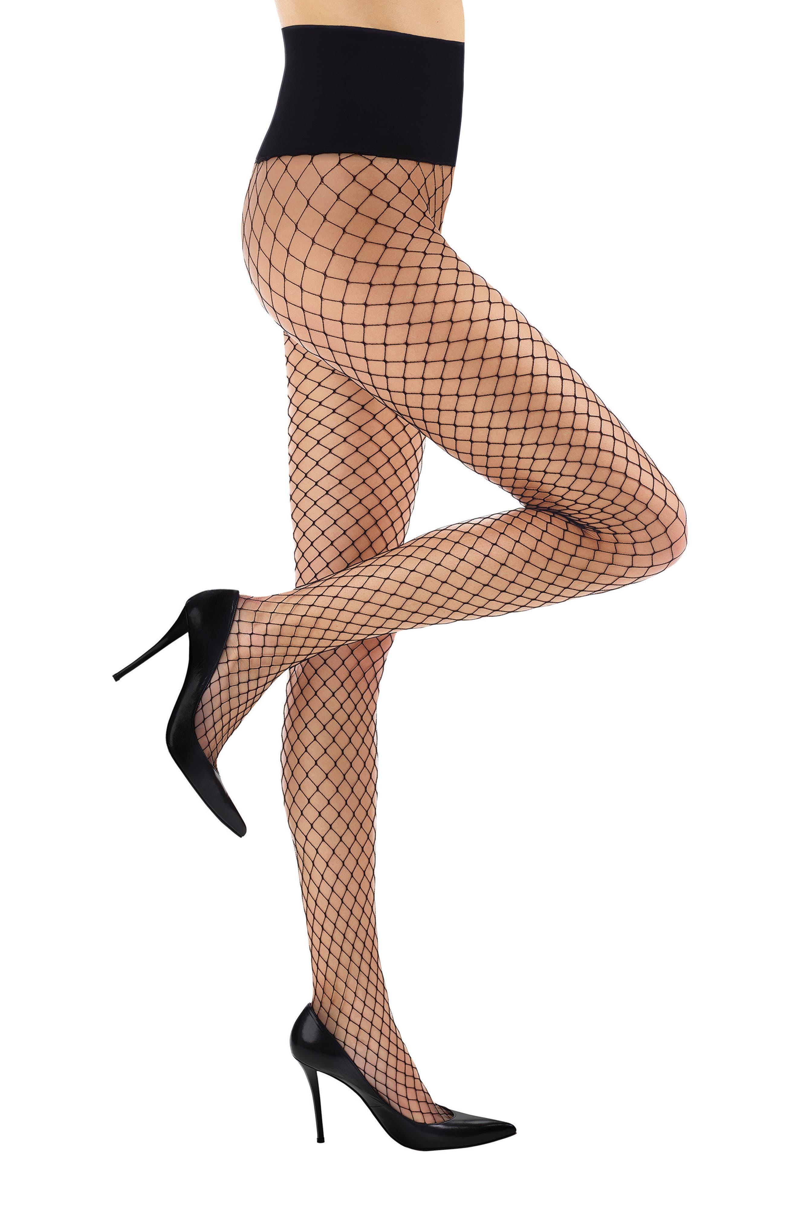 Open Air High Waist Fishnet Tights,                         Main,                         color, Black