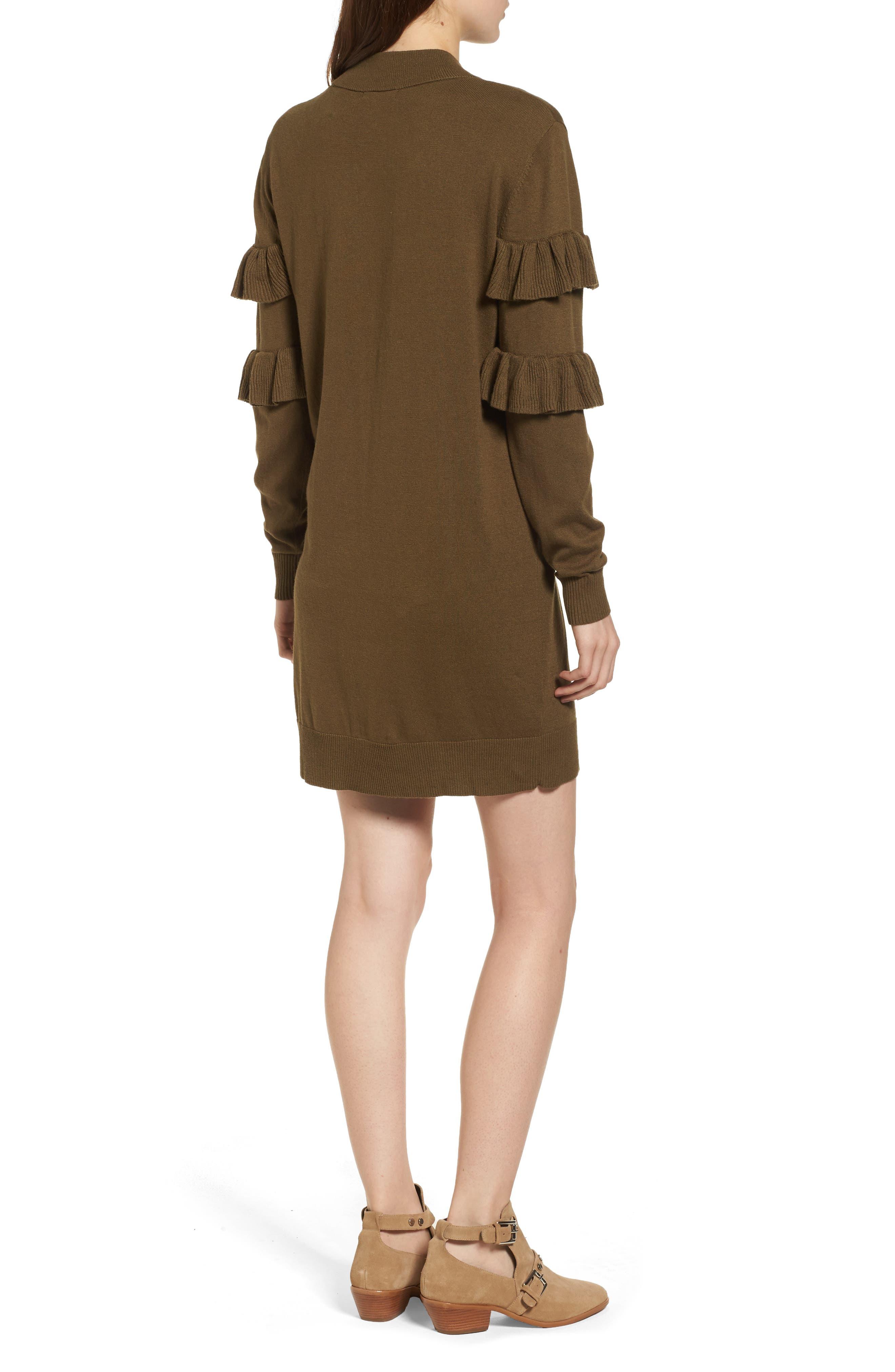 Ruffle Sweater Dress,                             Alternate thumbnail 2, color,                             Olive Dark