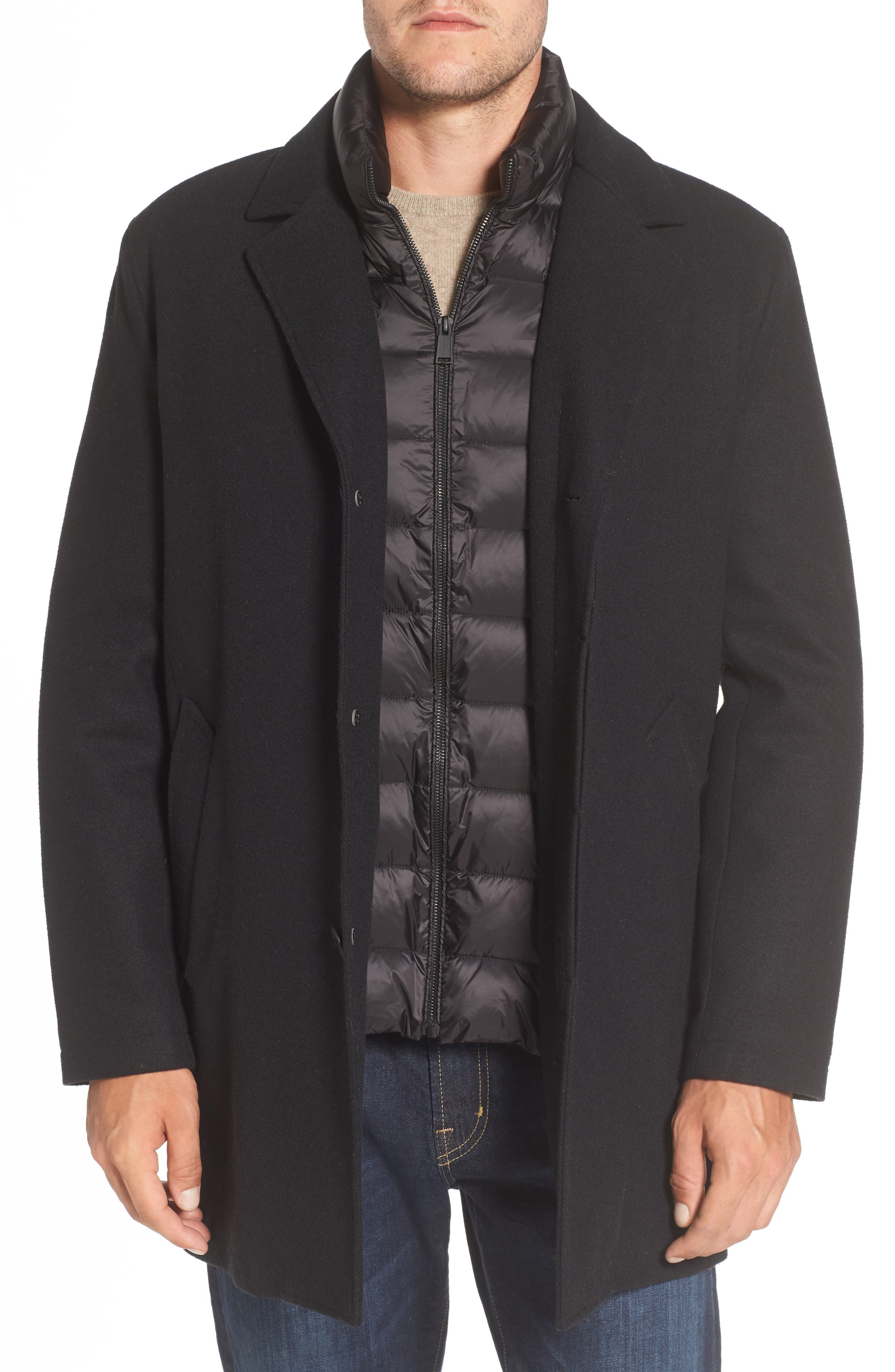 Water Repellent Jacket with Inset Bib & Faux Fur Lining,                         Main,                         color, Black