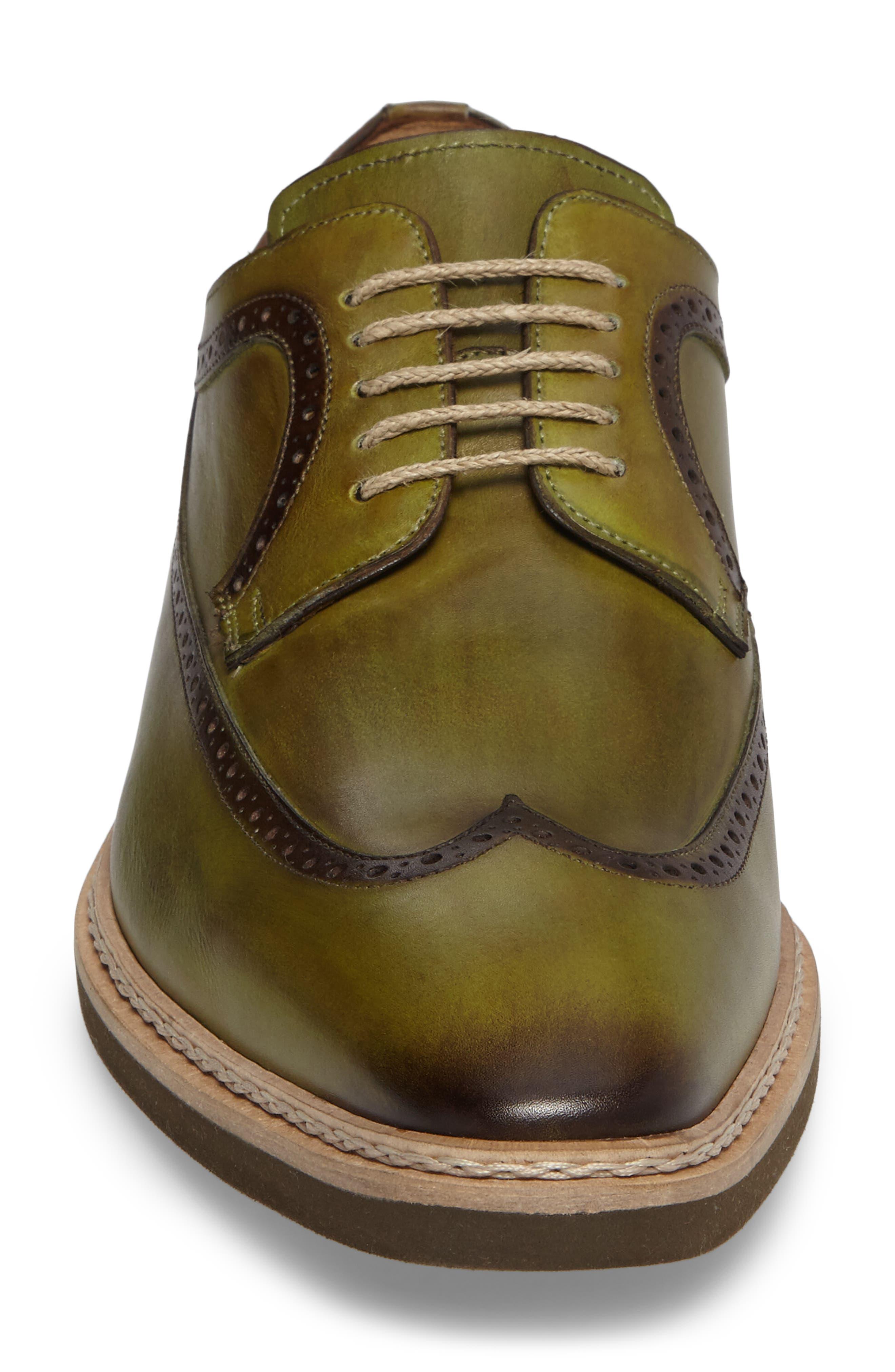 Maraval Wingtip,                             Alternate thumbnail 4, color,                             Olive Leather
