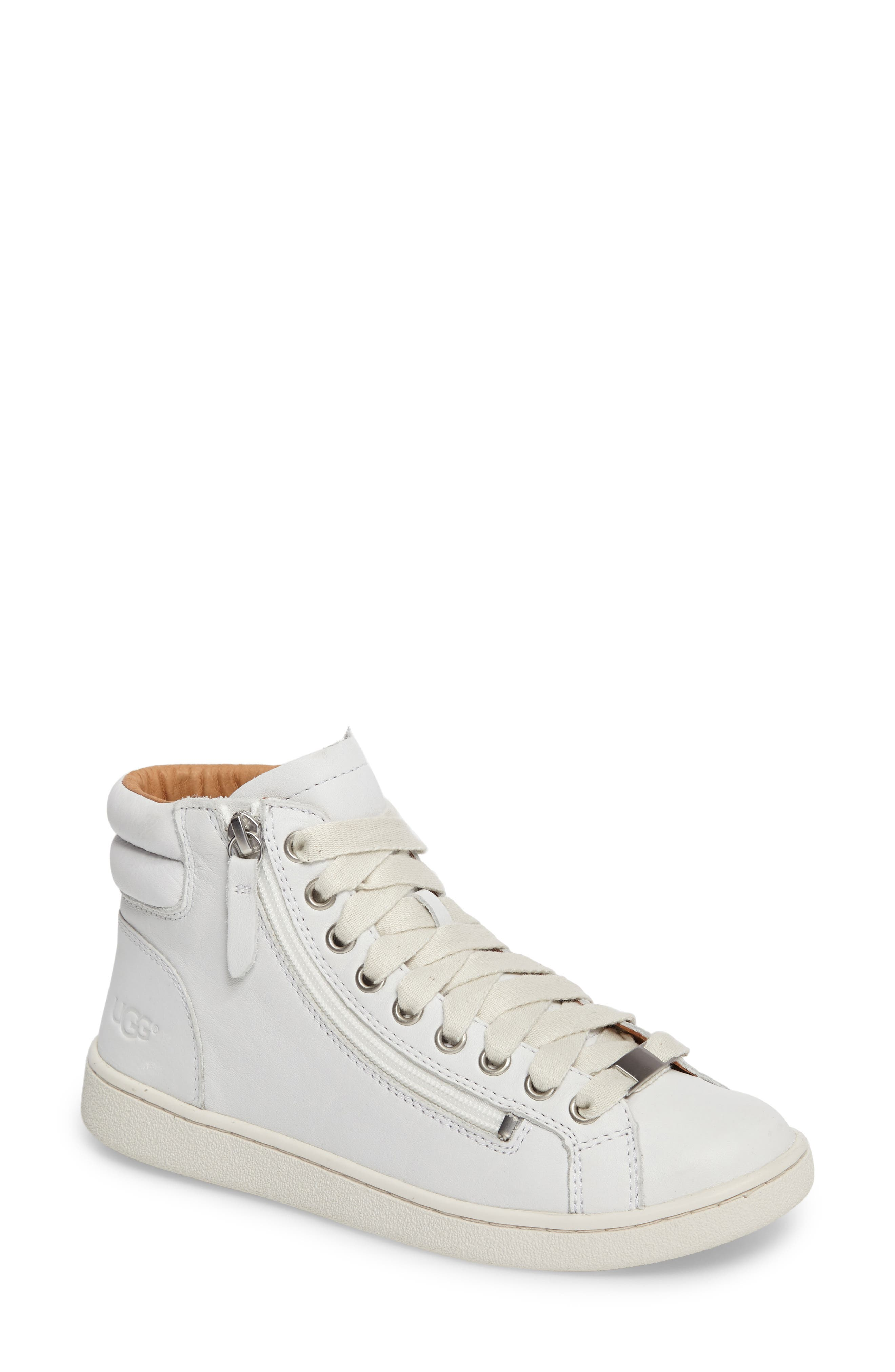 UGG Olive High Top Sneaker,                             Main thumbnail 1, color,                             White Leather
