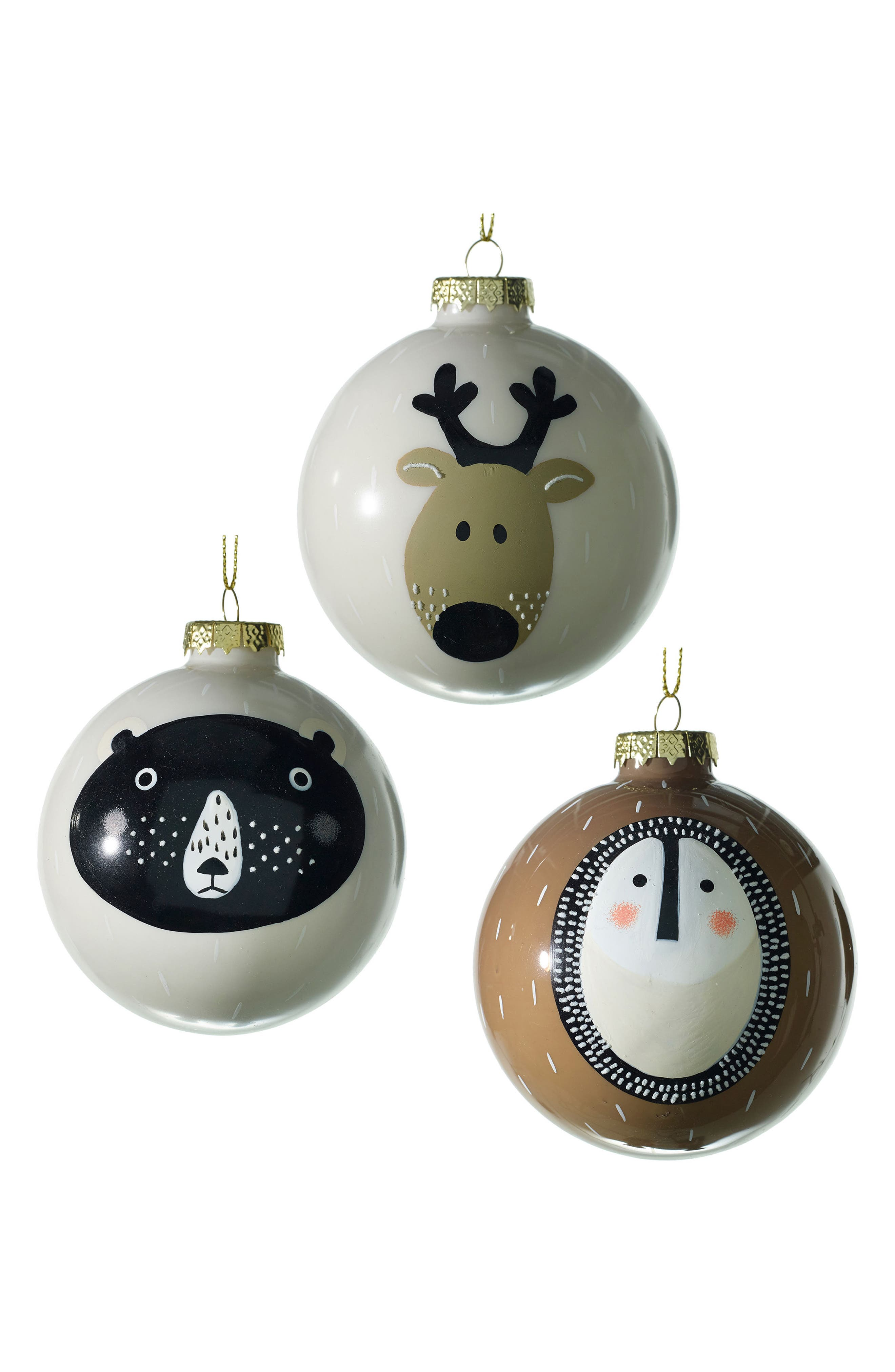 Wild Animal Set of 3 Glass Ball Ornaments,                         Main,                         color, White/ Brown