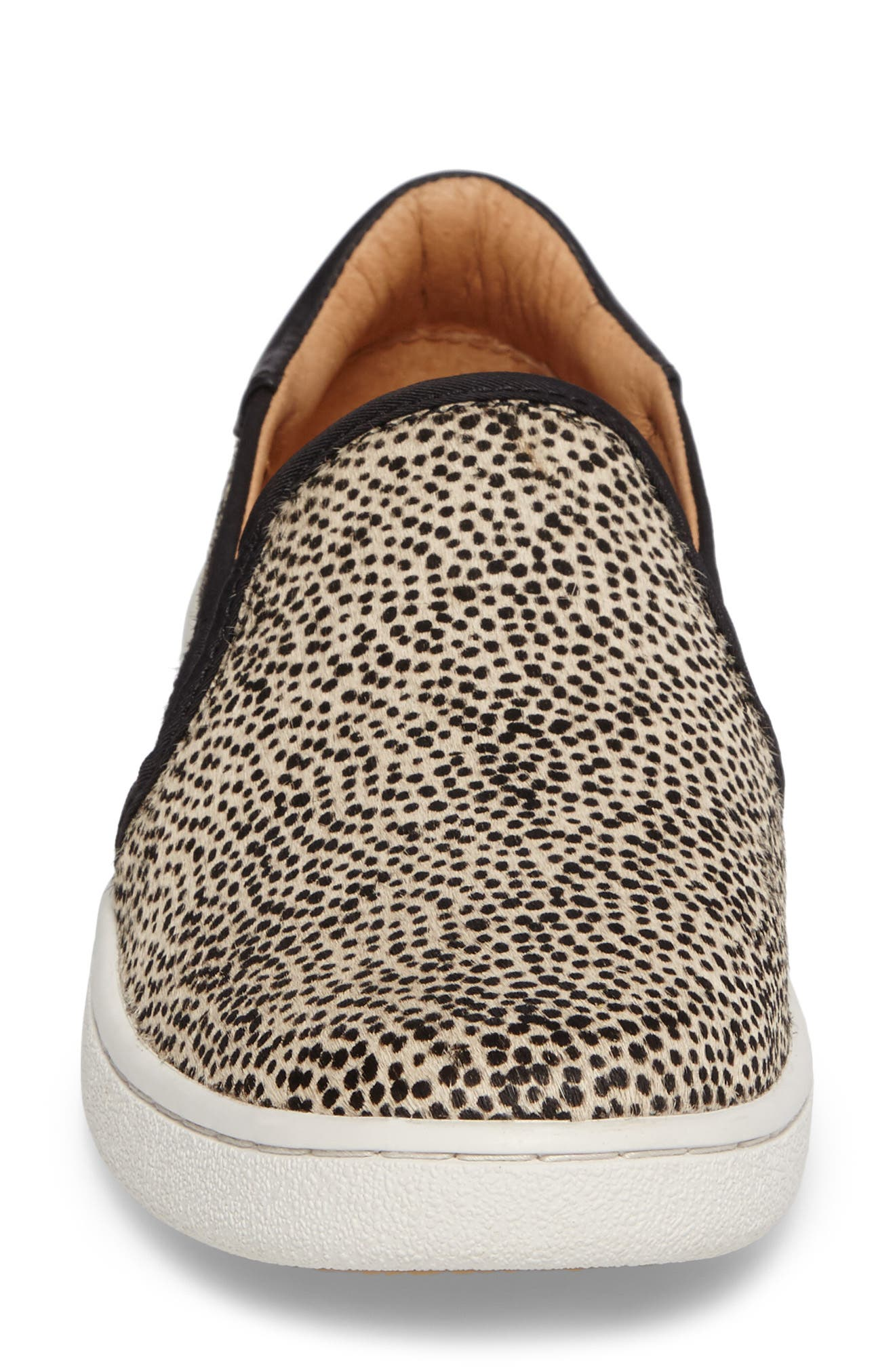 Cas Exotic Genuine Calf Hair Slip-On Sneaker,                             Alternate thumbnail 4, color,                             Black/ Tan Dotted Leather