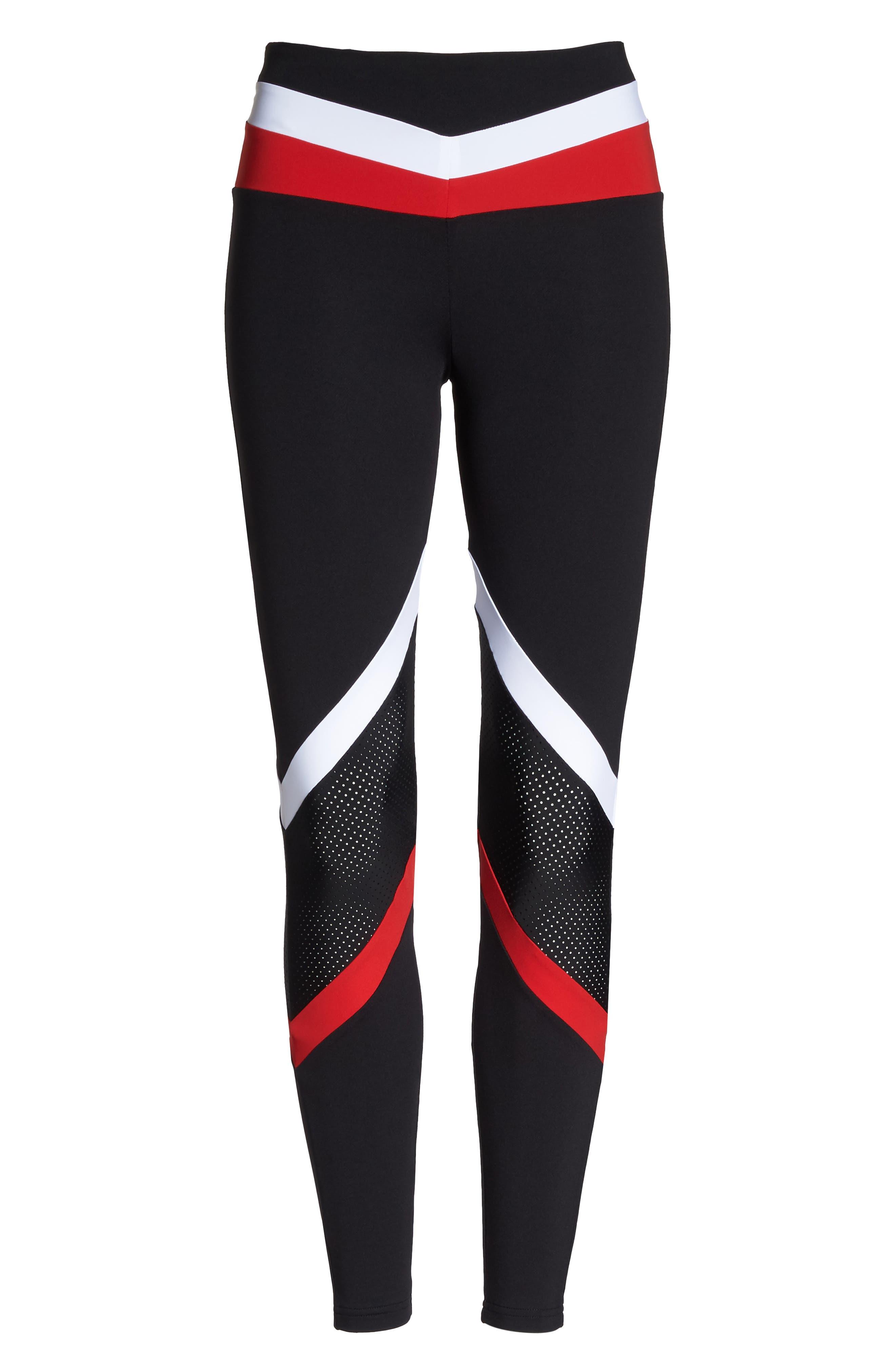 BoomBoom Athletica Leggings,                             Alternate thumbnail 7, color,                             Black/ White/ Red