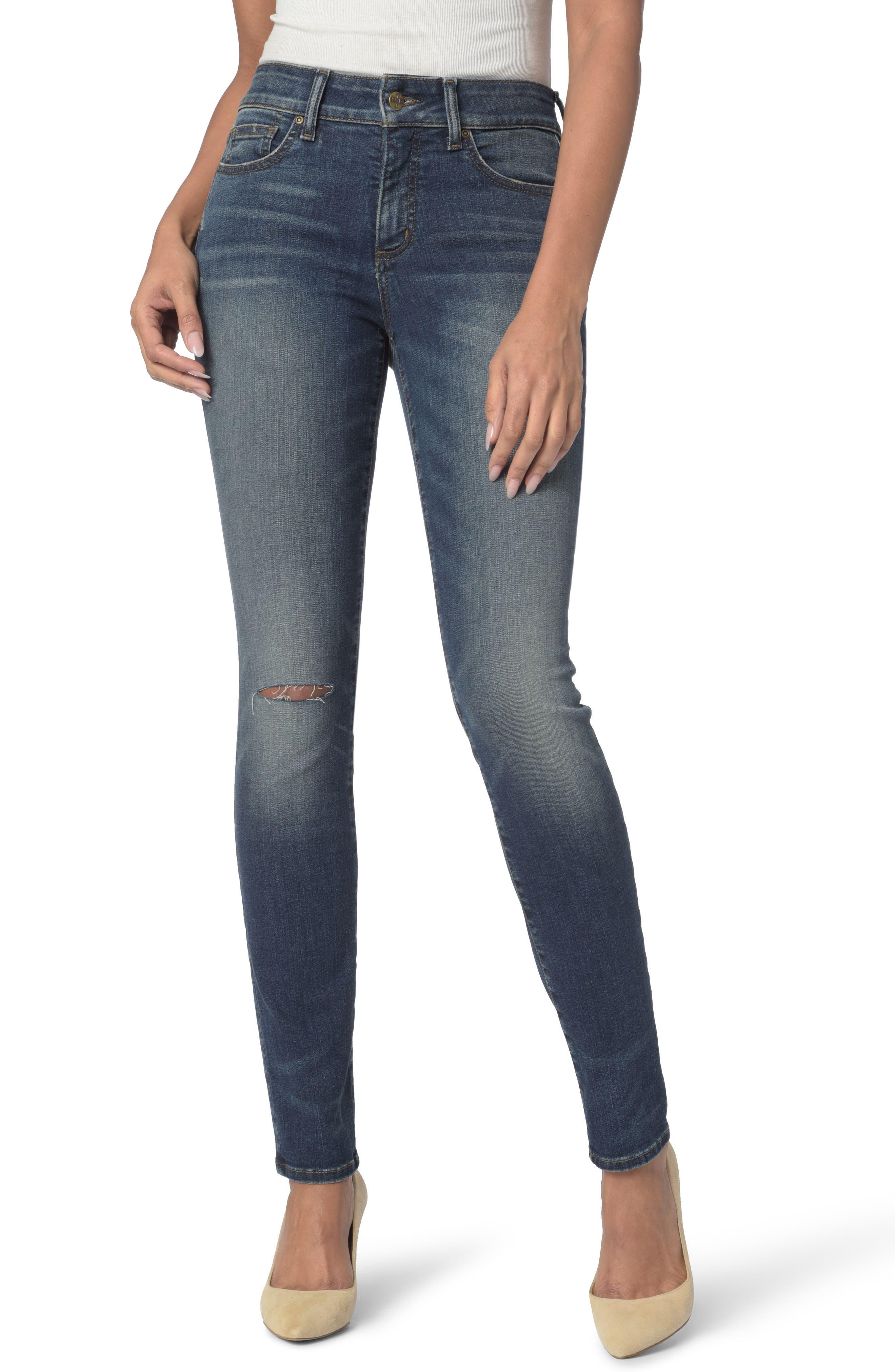 Alina Stretch Skinny Jeans,                             Main thumbnail 1, color,                             Horizon Knee Slit