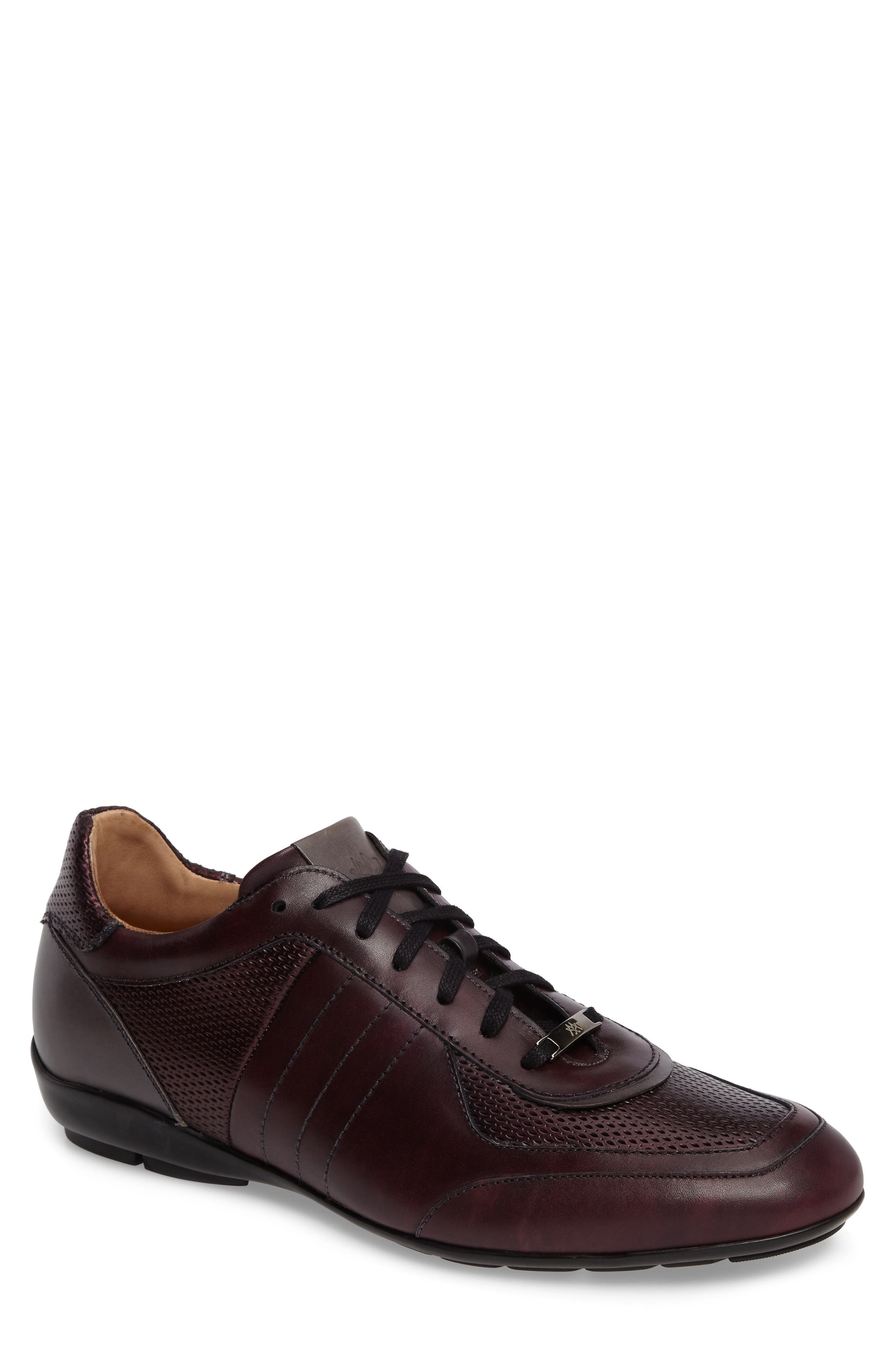 Redon Embossed Sneaker in Burgundy/ Grey Leather