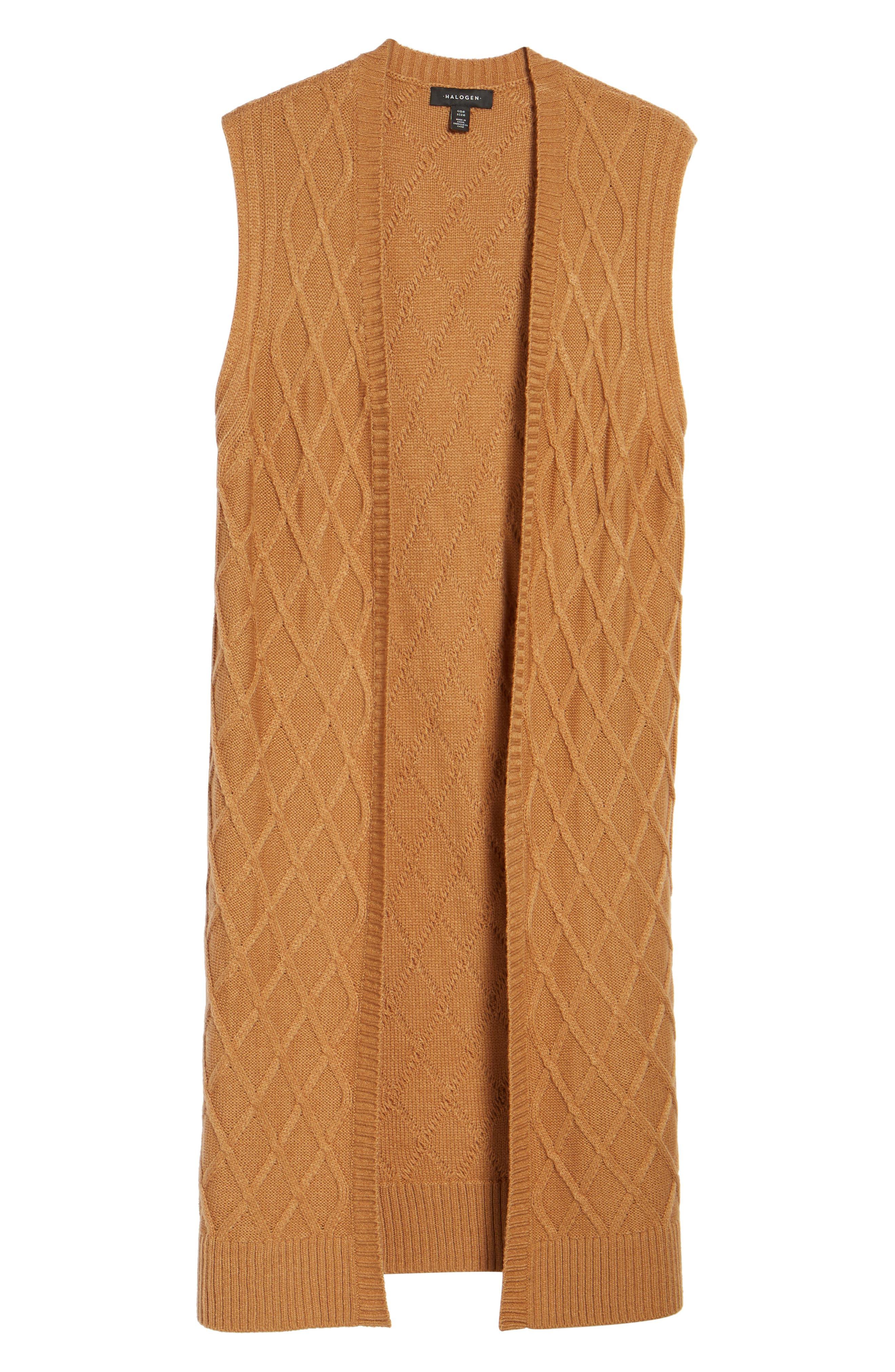 Cable Stitch Long Sweater Vest,                             Alternate thumbnail 5, color,                             Tan Dale