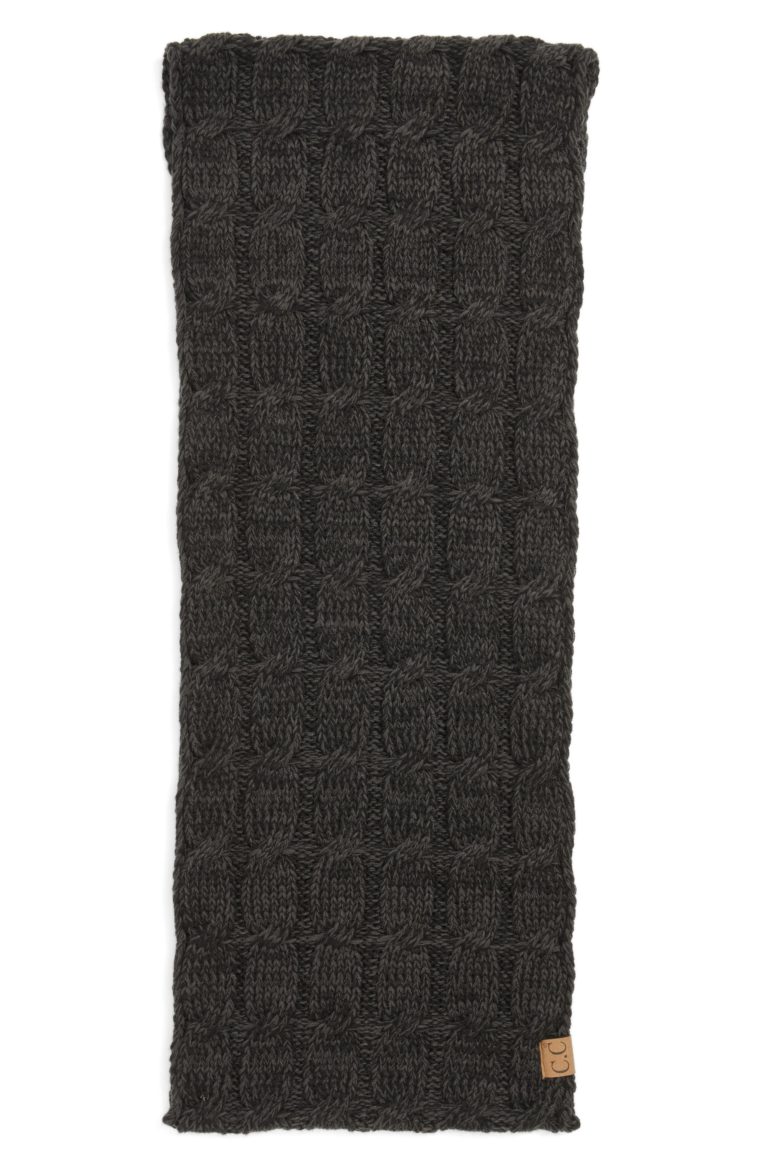 Knit Infinity Scarf,                             Alternate thumbnail 2, color,                             Black/ Grey
