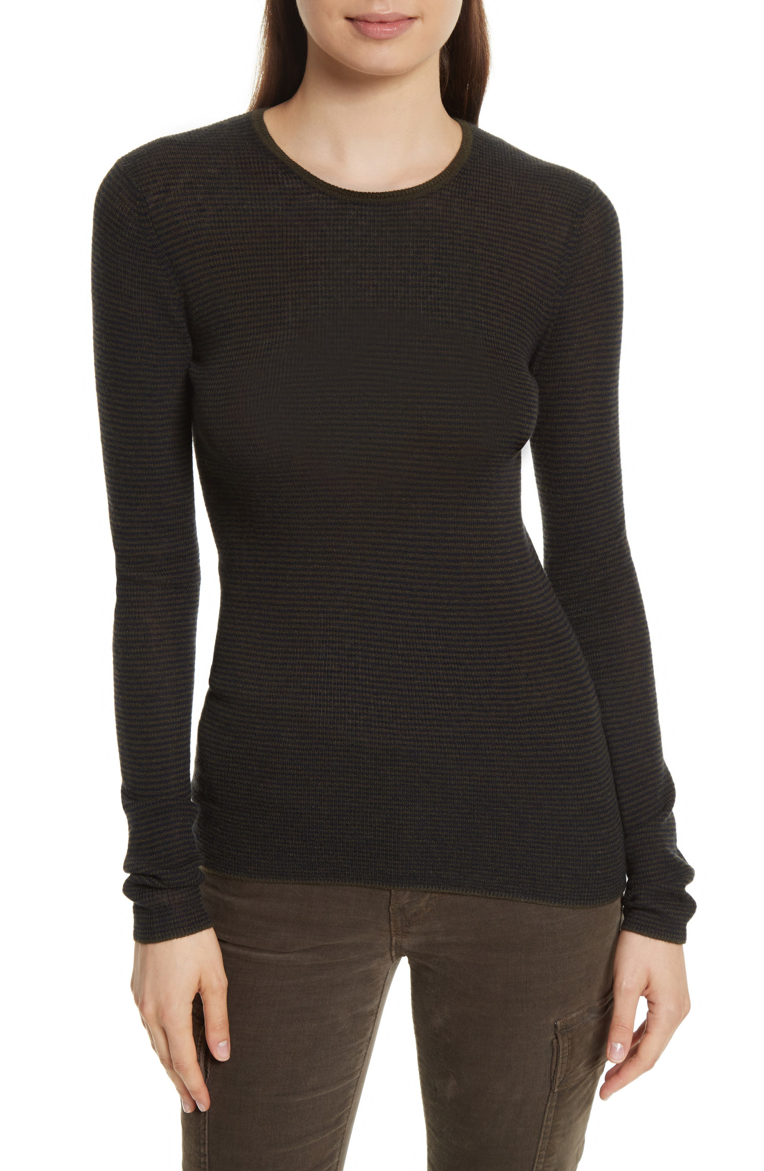 Vince Stripe Skinny Ribbed Cashmere Sweater