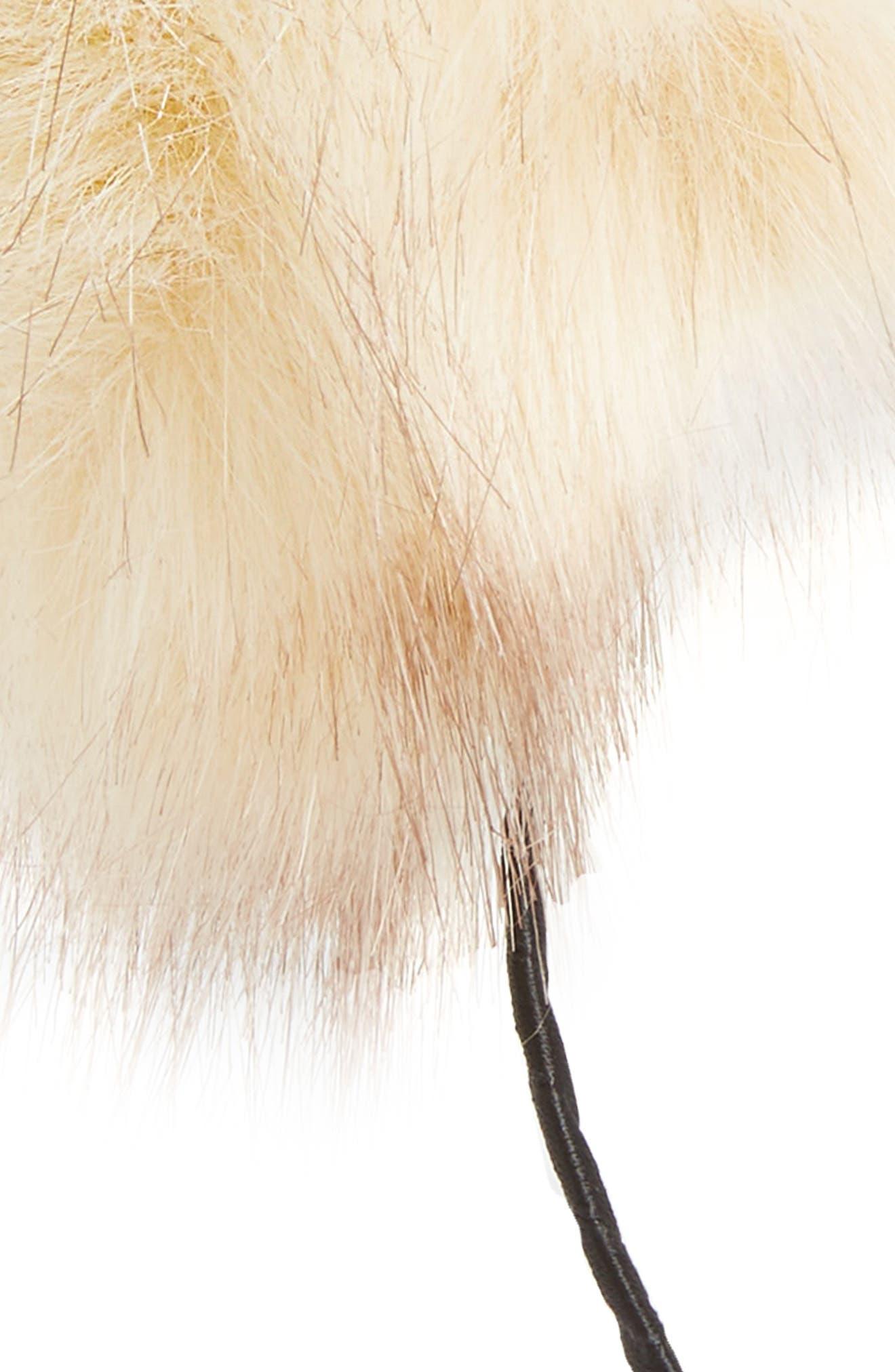 Faux Fur Pouf Headband,                             Alternate thumbnail 2, color,                             Champagne