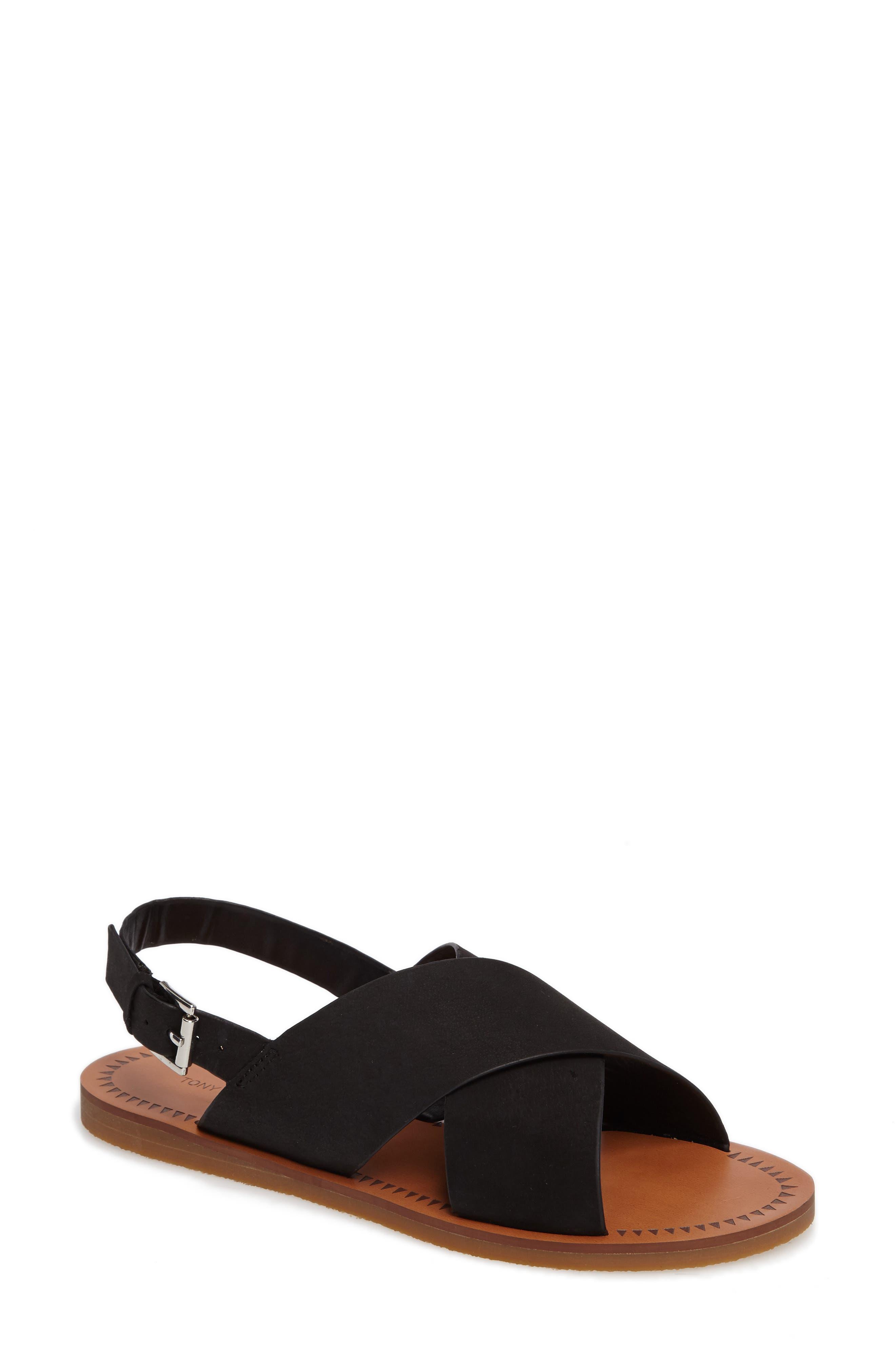 Henri Cross Strap Sandal,                         Main,                         color, Black Phoenix