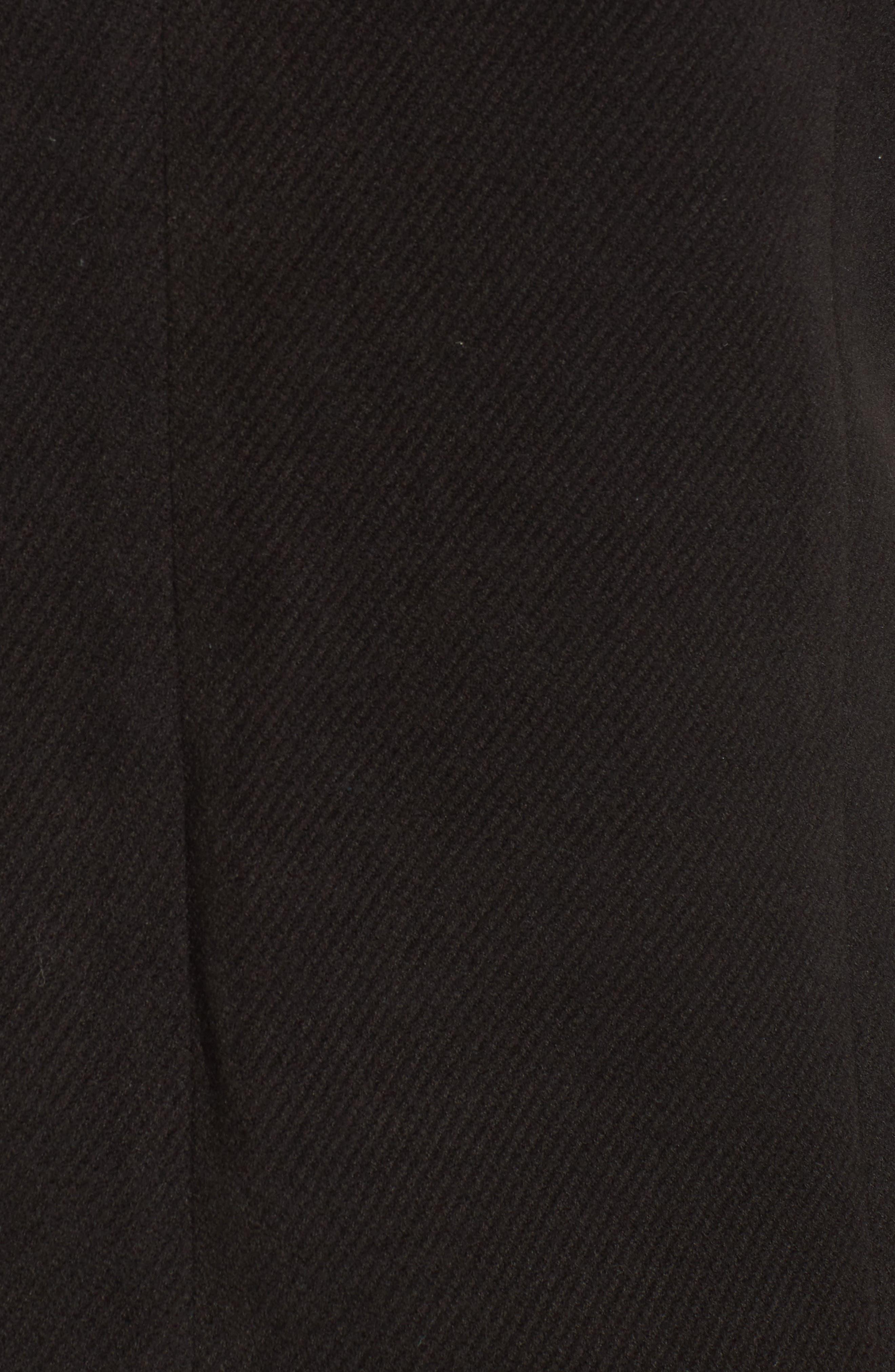 Faux Feather Trim Long Vest,                             Alternate thumbnail 5, color,                             Black