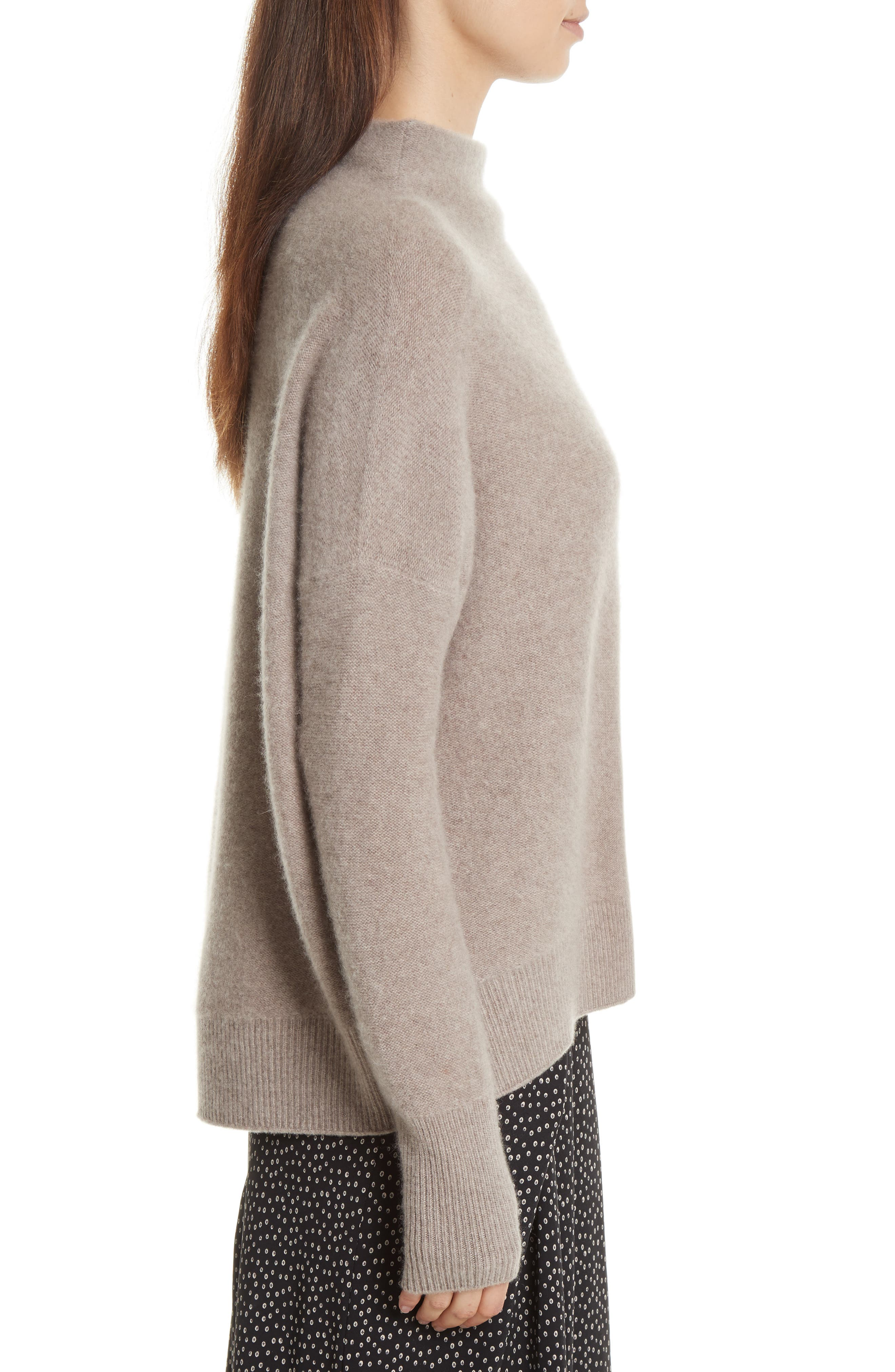 Cashmere Funnel Neck Pullover,                             Alternate thumbnail 4, color,                             Taupe
